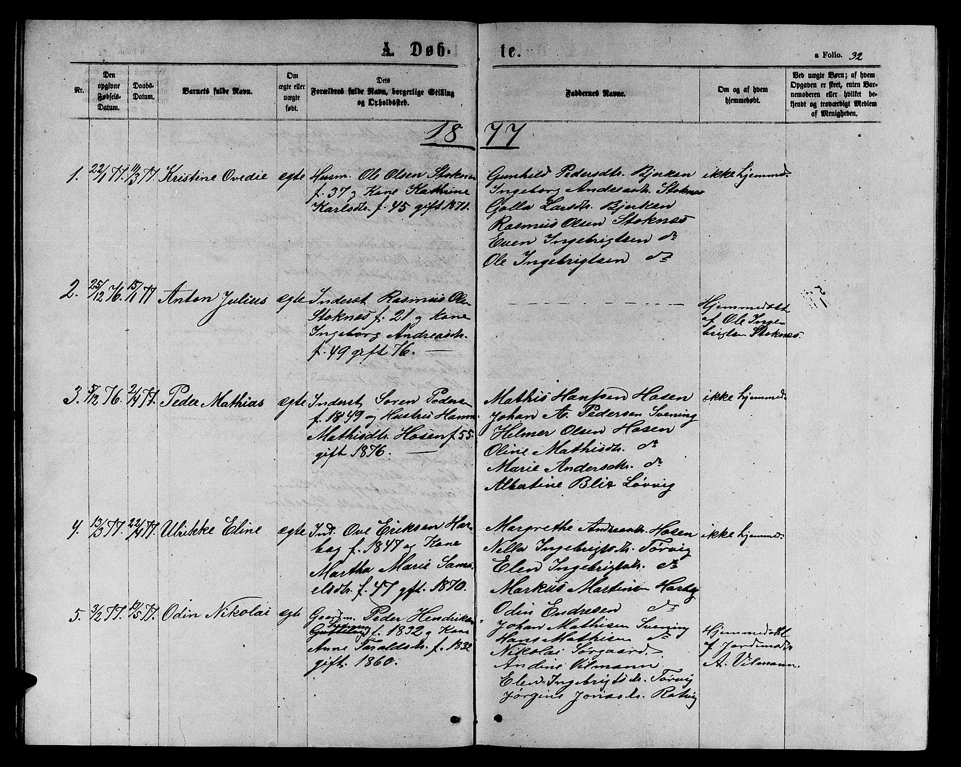SAT, Ministerialprotokoller, klokkerbøker og fødselsregistre - Sør-Trøndelag, 656/L0695: Klokkerbok nr. 656C01, 1867-1889, s. 32
