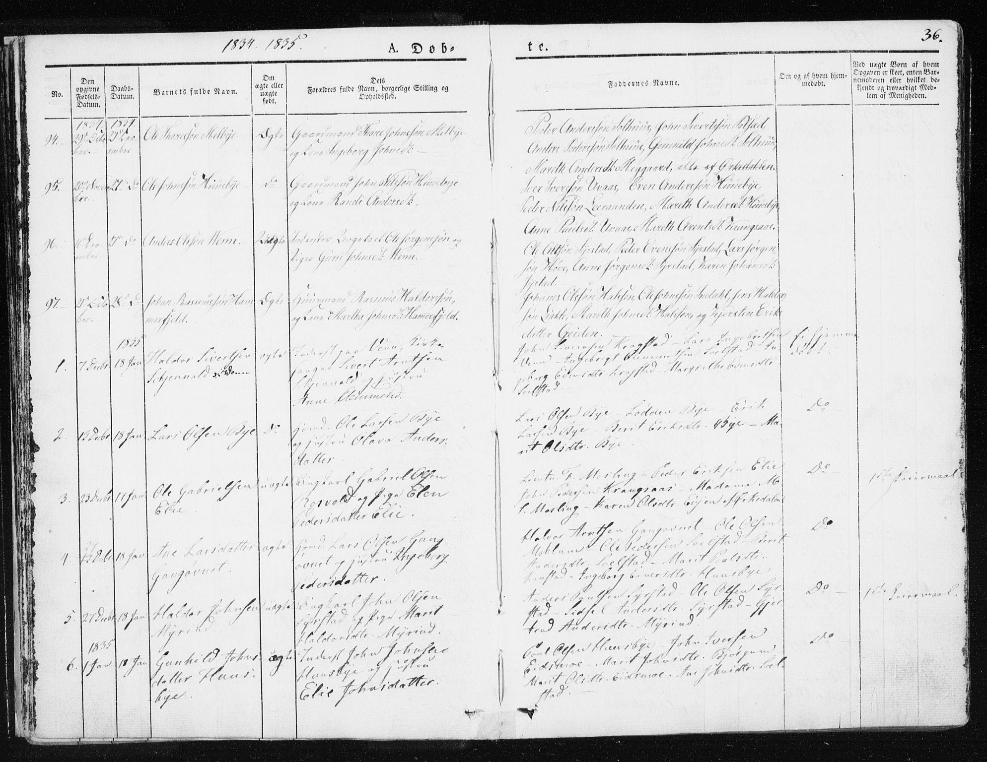 SAT, Ministerialprotokoller, klokkerbøker og fødselsregistre - Sør-Trøndelag, 665/L0771: Ministerialbok nr. 665A06, 1830-1856, s. 36