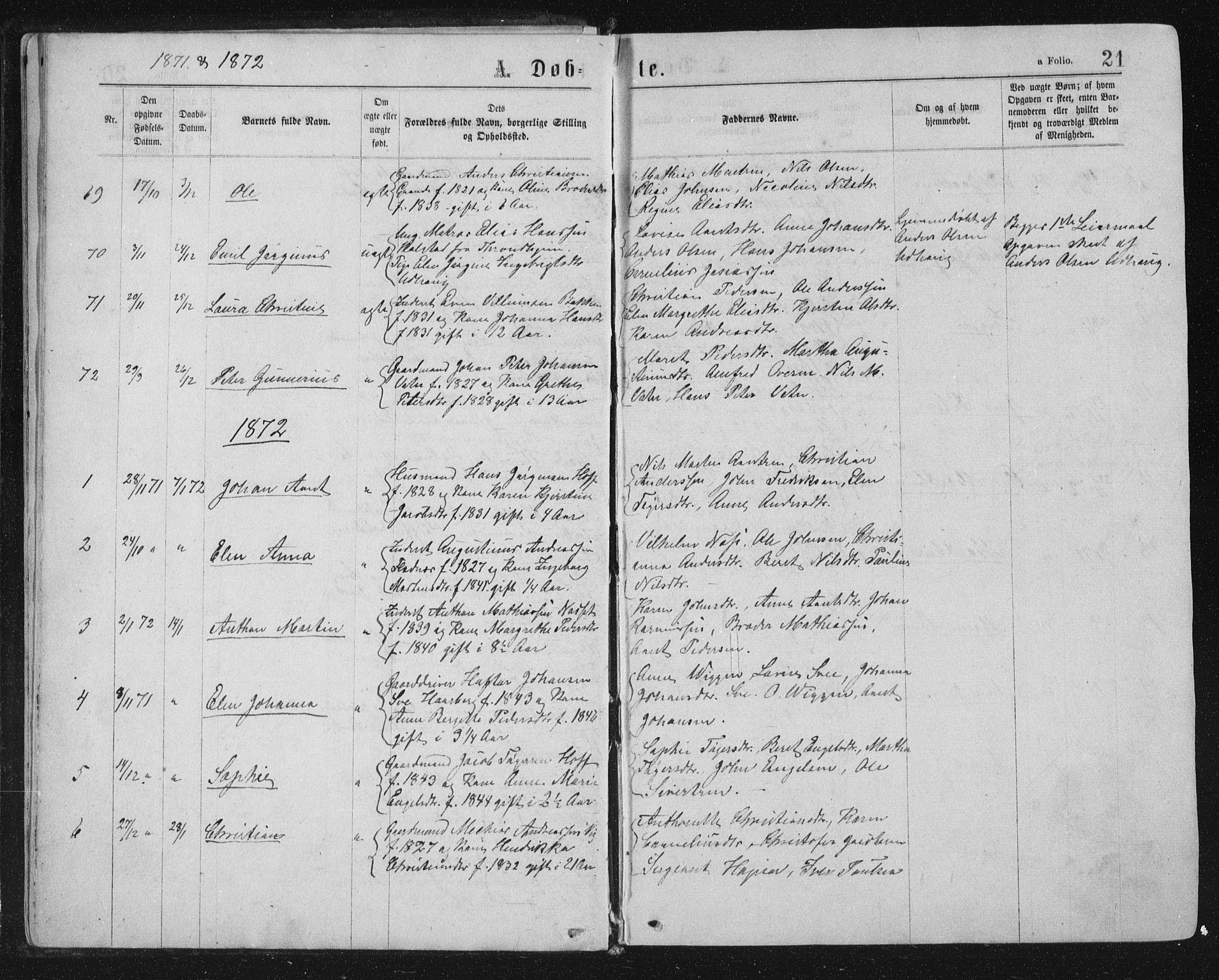 SAT, Ministerialprotokoller, klokkerbøker og fødselsregistre - Sør-Trøndelag, 659/L0745: Klokkerbok nr. 659C02, 1869-1892, s. 21