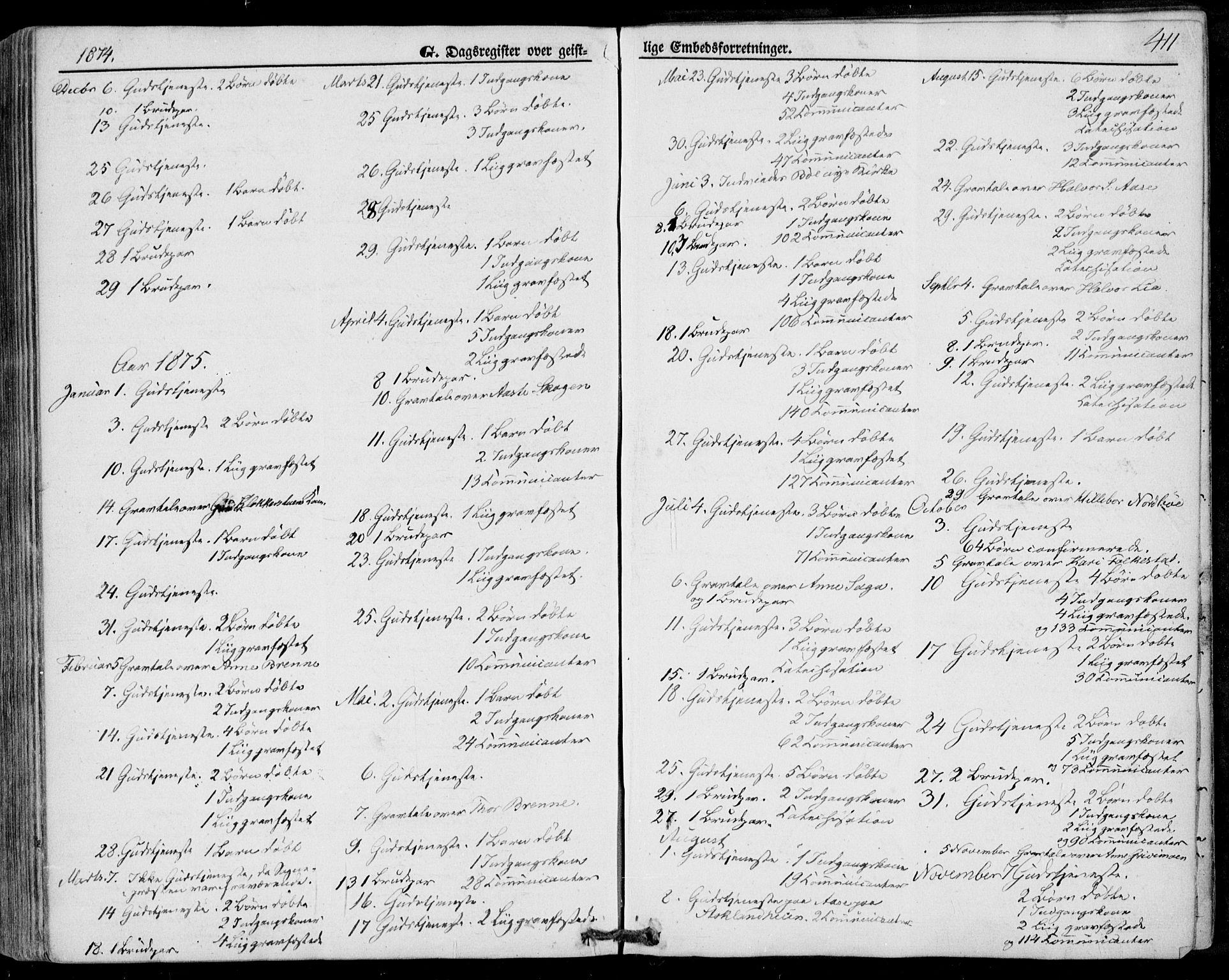 SAKO, Bø kirkebøker, F/Fa/L0009: Ministerialbok nr. 9, 1862-1879, s. 411