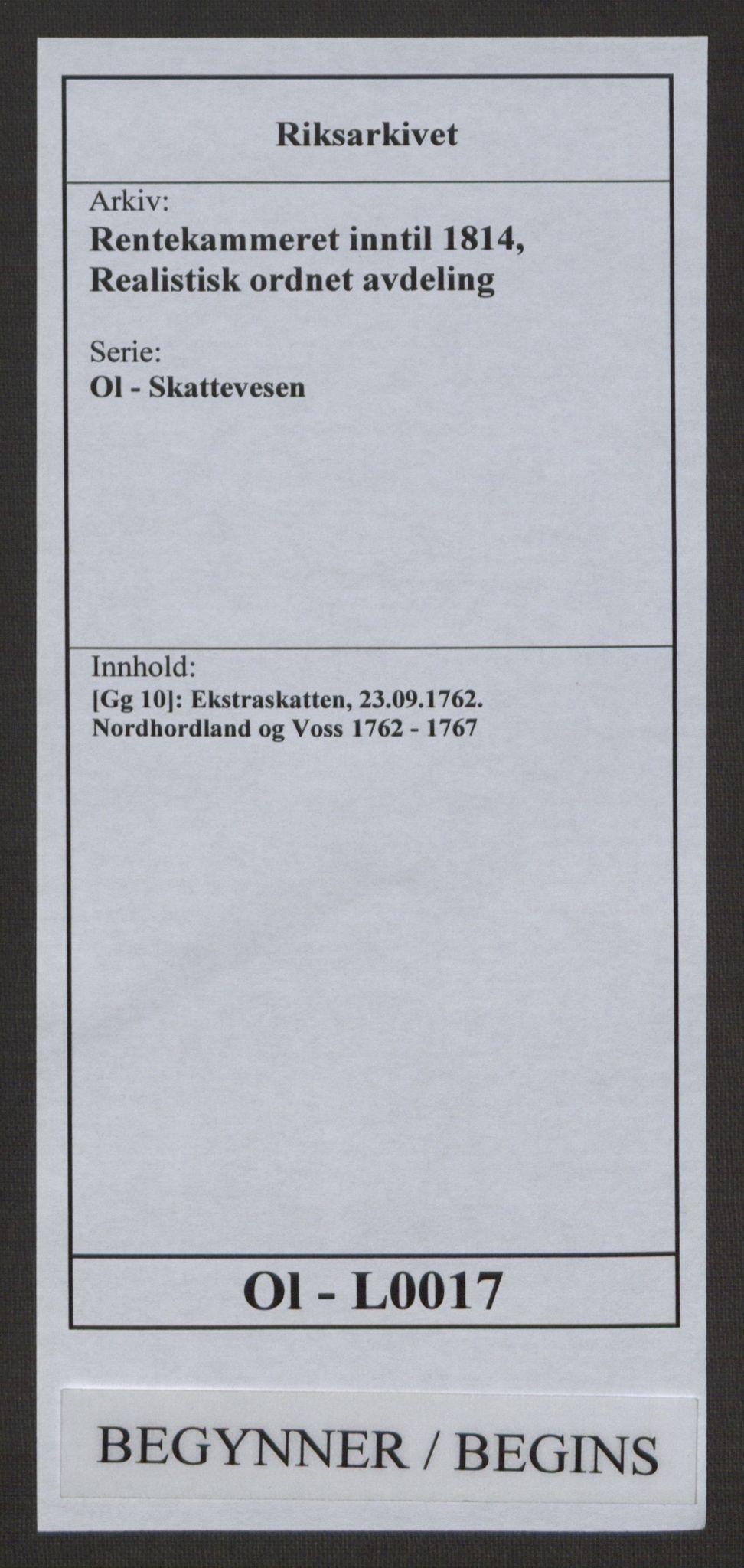 RA, Rentekammeret inntil 1814, Realistisk ordnet avdeling, Ol/L0017: [Gg 10]: Ekstraskatten, 23.09.1762. Nordhordland og Voss, 1762-1767, s. 1