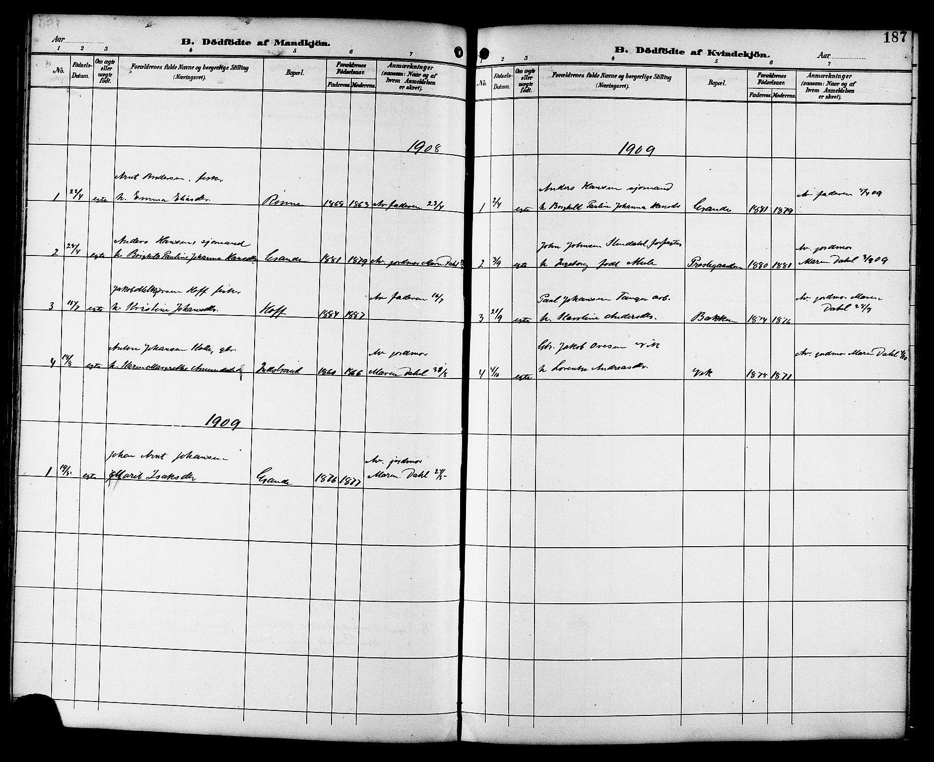 SAT, Ministerialprotokoller, klokkerbøker og fødselsregistre - Sør-Trøndelag, 659/L0746: Klokkerbok nr. 659C03, 1893-1912, s. 187
