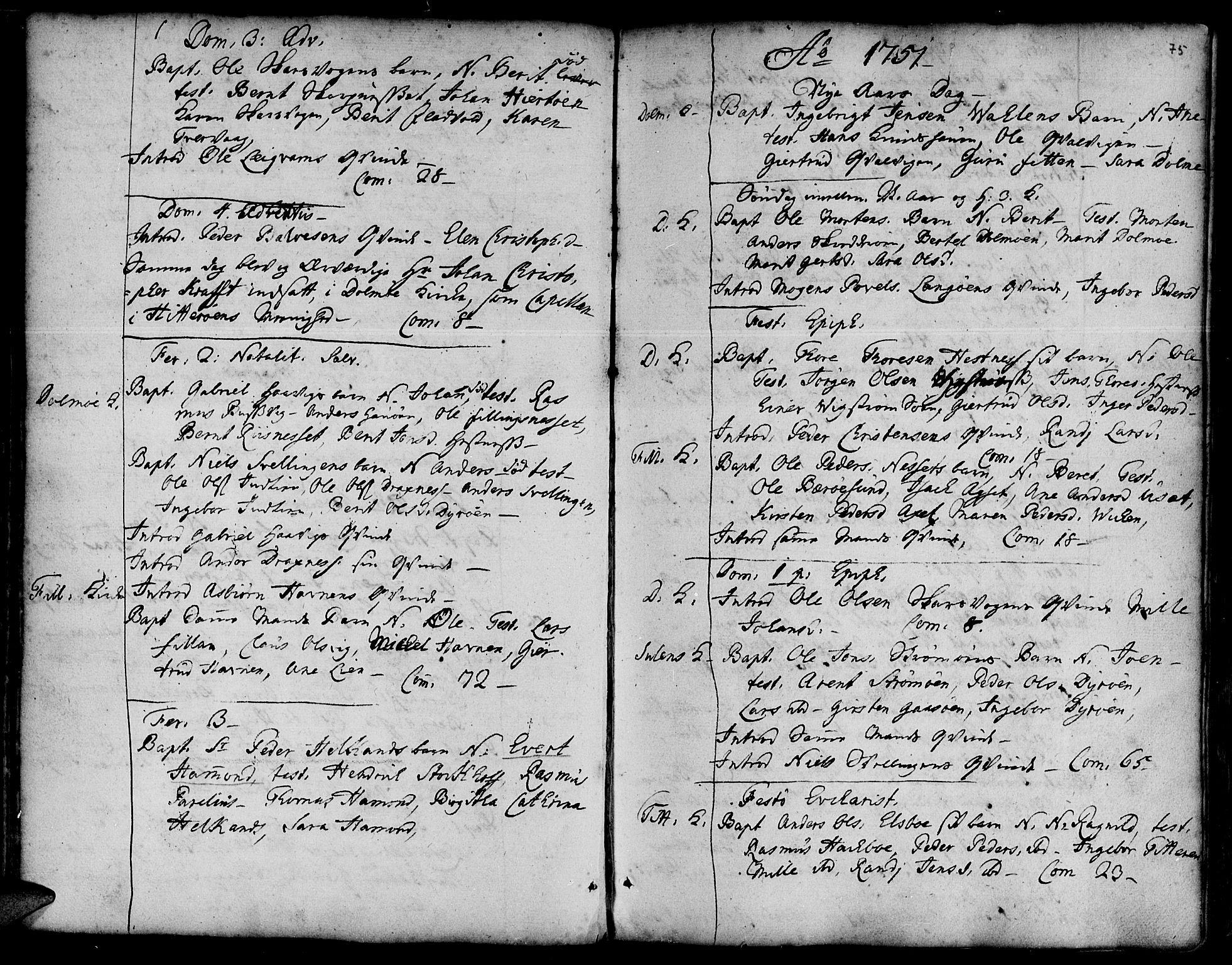 SAT, Ministerialprotokoller, klokkerbøker og fødselsregistre - Sør-Trøndelag, 634/L0525: Ministerialbok nr. 634A01, 1736-1775, s. 75