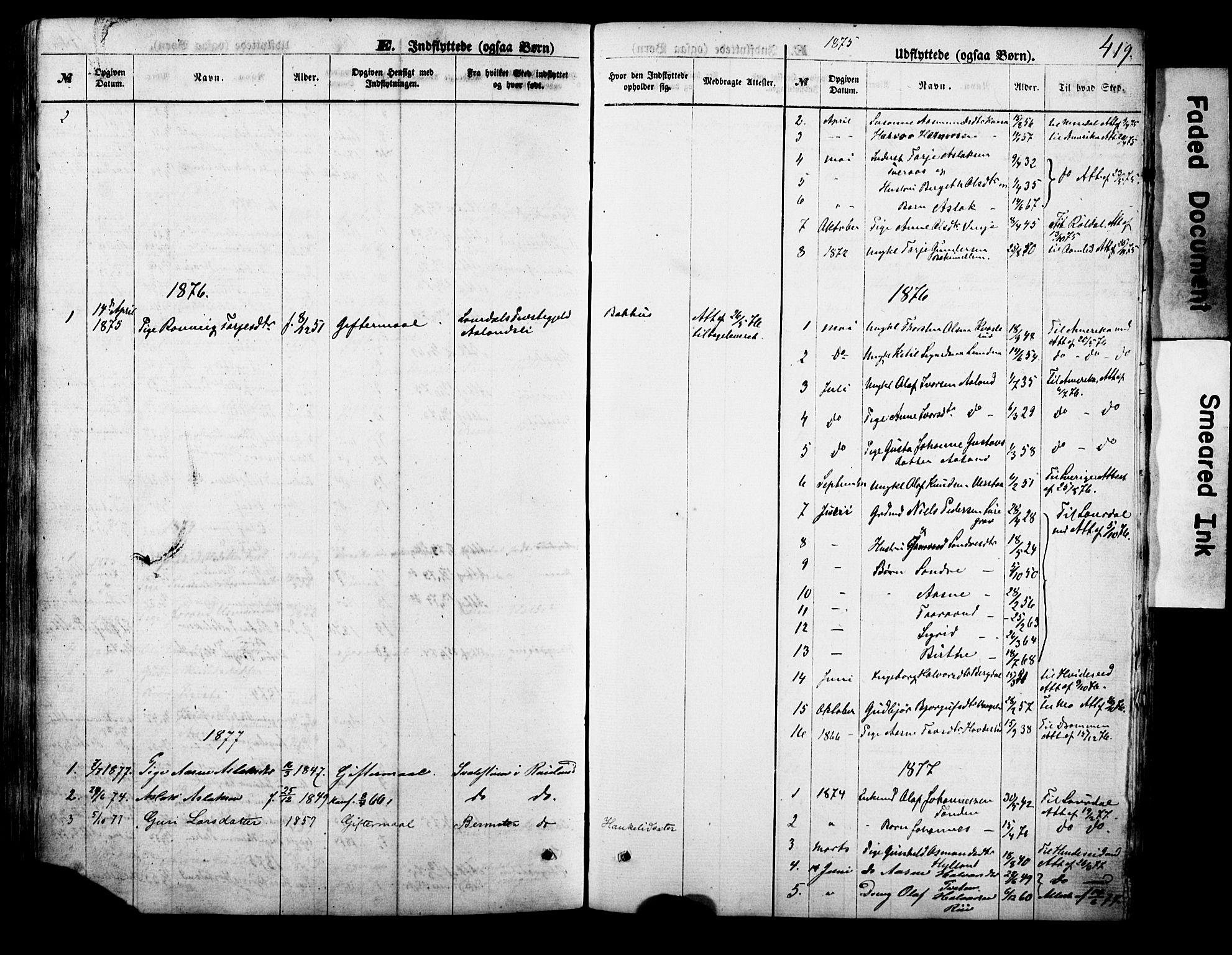 SAKO, Vinje kirkebøker, F/Fa/L0005: Ministerialbok nr. I 5, 1870-1886, s. 419