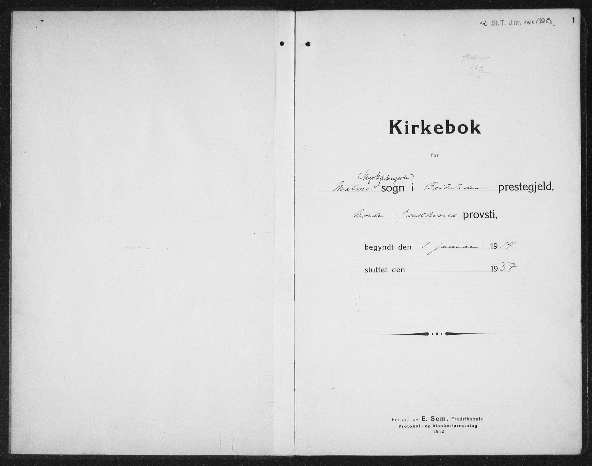 SAT, Ministerialprotokoller, klokkerbøker og fødselsregistre - Nord-Trøndelag, 745/L0434: Klokkerbok nr. 745C03, 1914-1937, s. 1