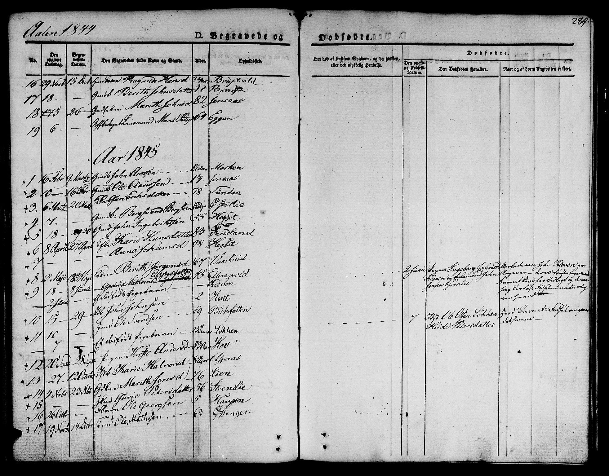 SAT, Ministerialprotokoller, klokkerbøker og fødselsregistre - Sør-Trøndelag, 685/L0962: Ministerialbok nr. 685A05 /3, 1829-1845, s. 284