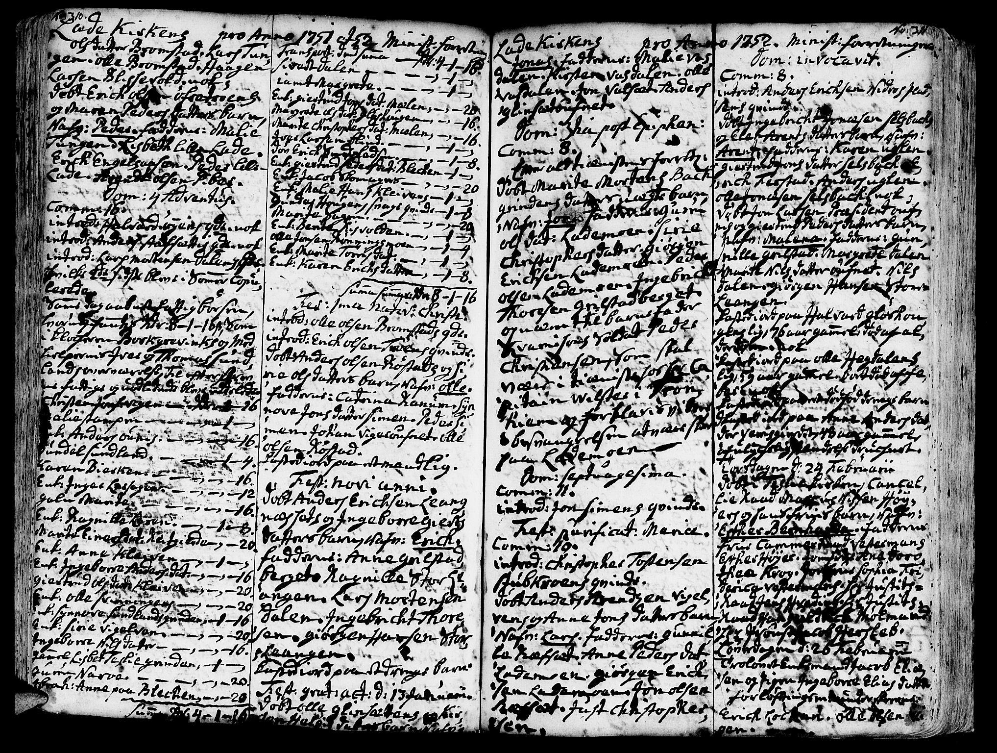 SAT, Ministerialprotokoller, klokkerbøker og fødselsregistre - Sør-Trøndelag, 606/L0275: Ministerialbok nr. 606A01 /1, 1727-1780, s. 310-311