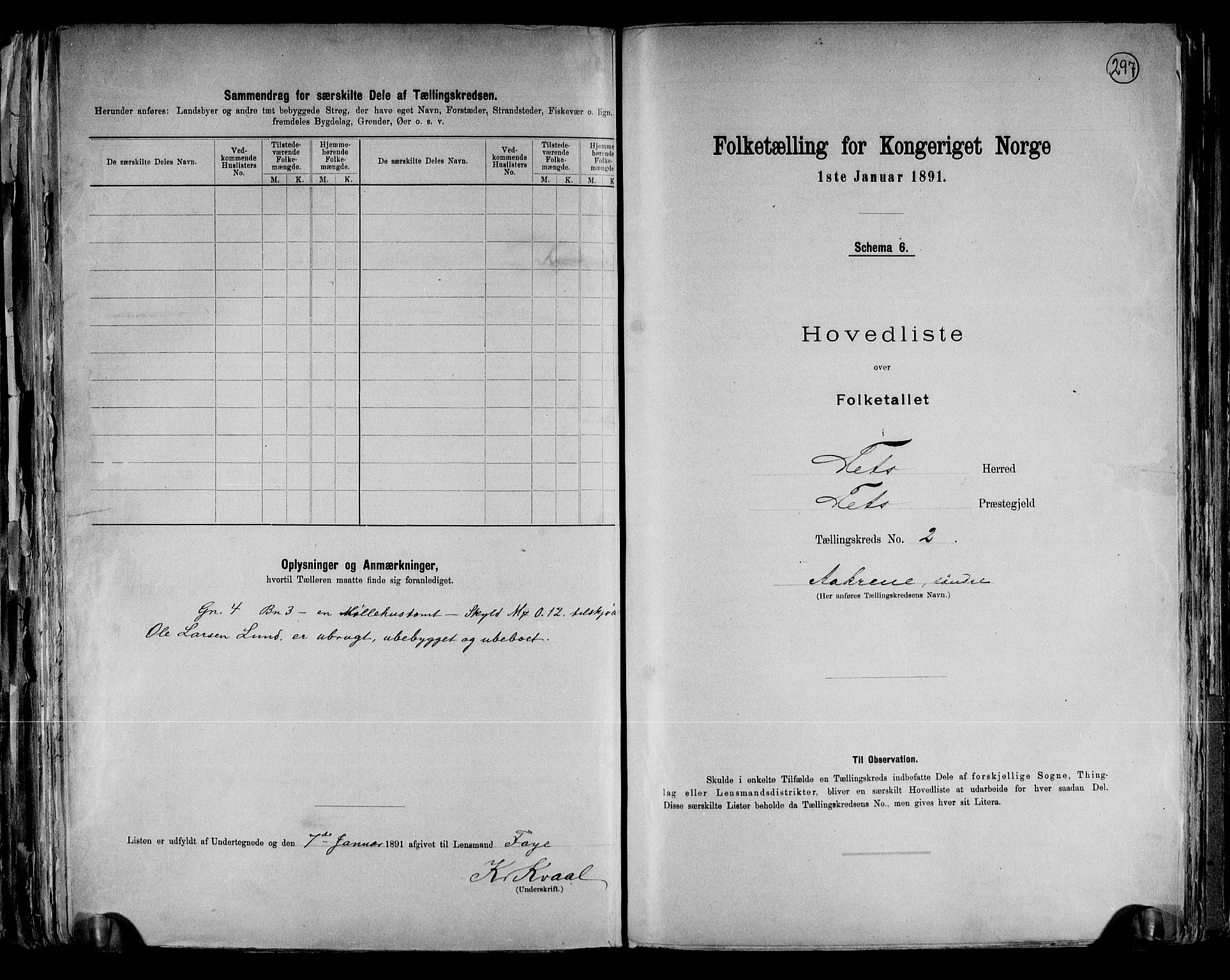 RA, Folketelling 1891 for 0227 Fet herred, 1891, s. 6