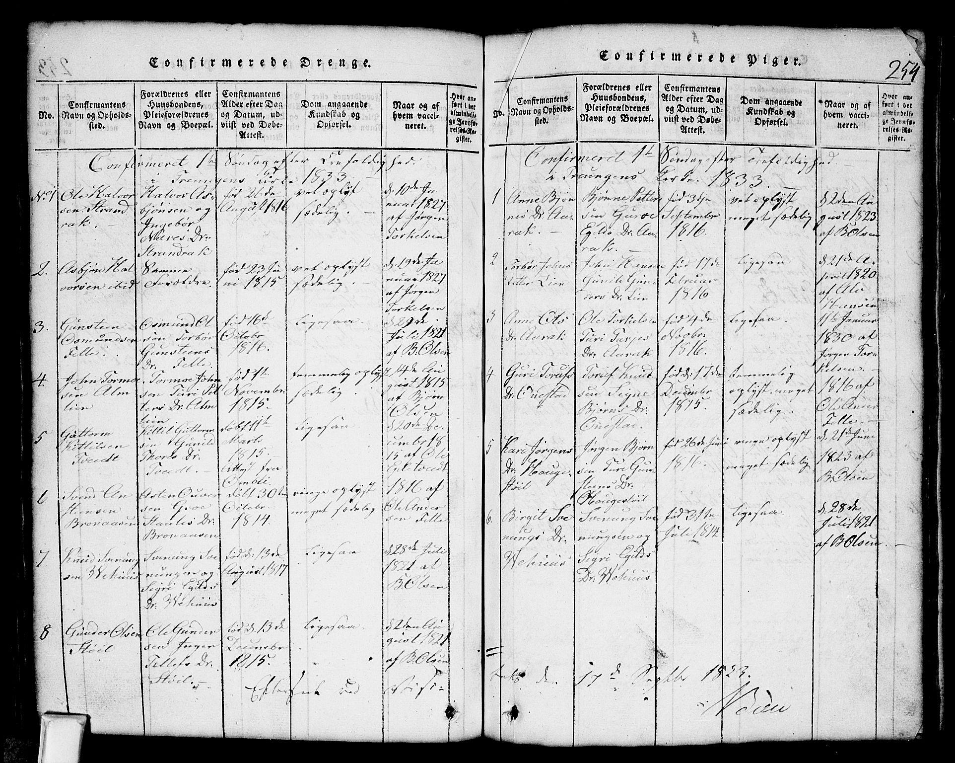 SAKO, Nissedal kirkebøker, G/Gb/L0001: Klokkerbok nr. II 1, 1814-1862, s. 254