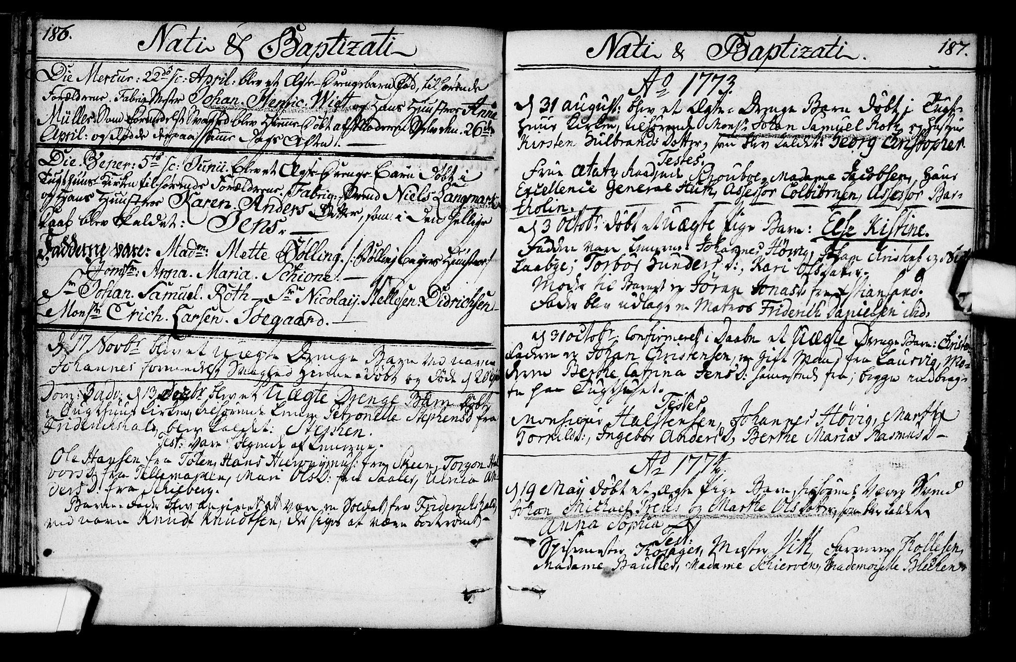 SAO, Kristiania tukthusprest Kirkebøker, F/Fa/L0001: Ministerialbok nr. 1, 1758-1828, s. 186-187