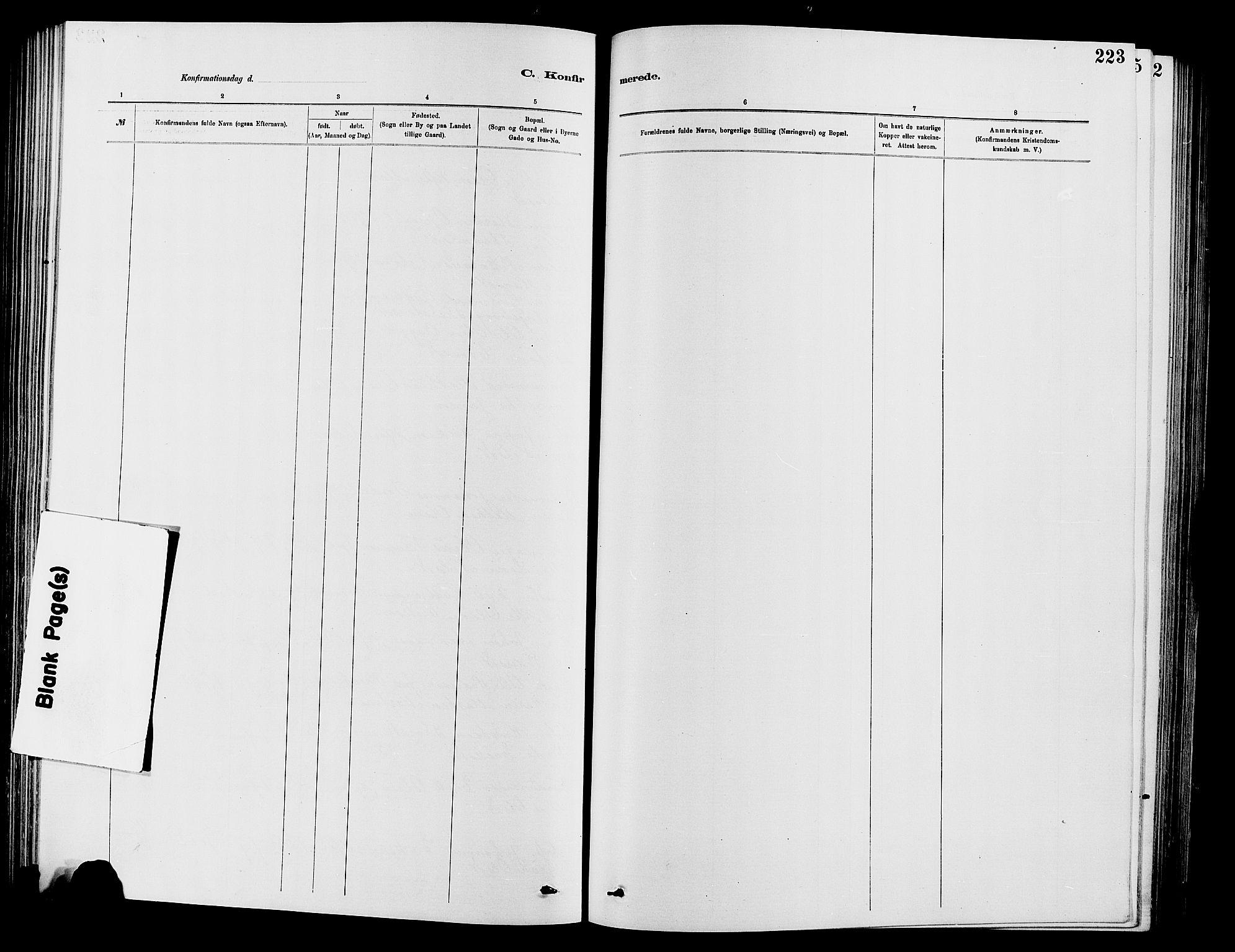 SAH, Vardal prestekontor, H/Ha/Hab/L0007: Klokkerbok nr. 7 /2, 1881-1895, s. 223