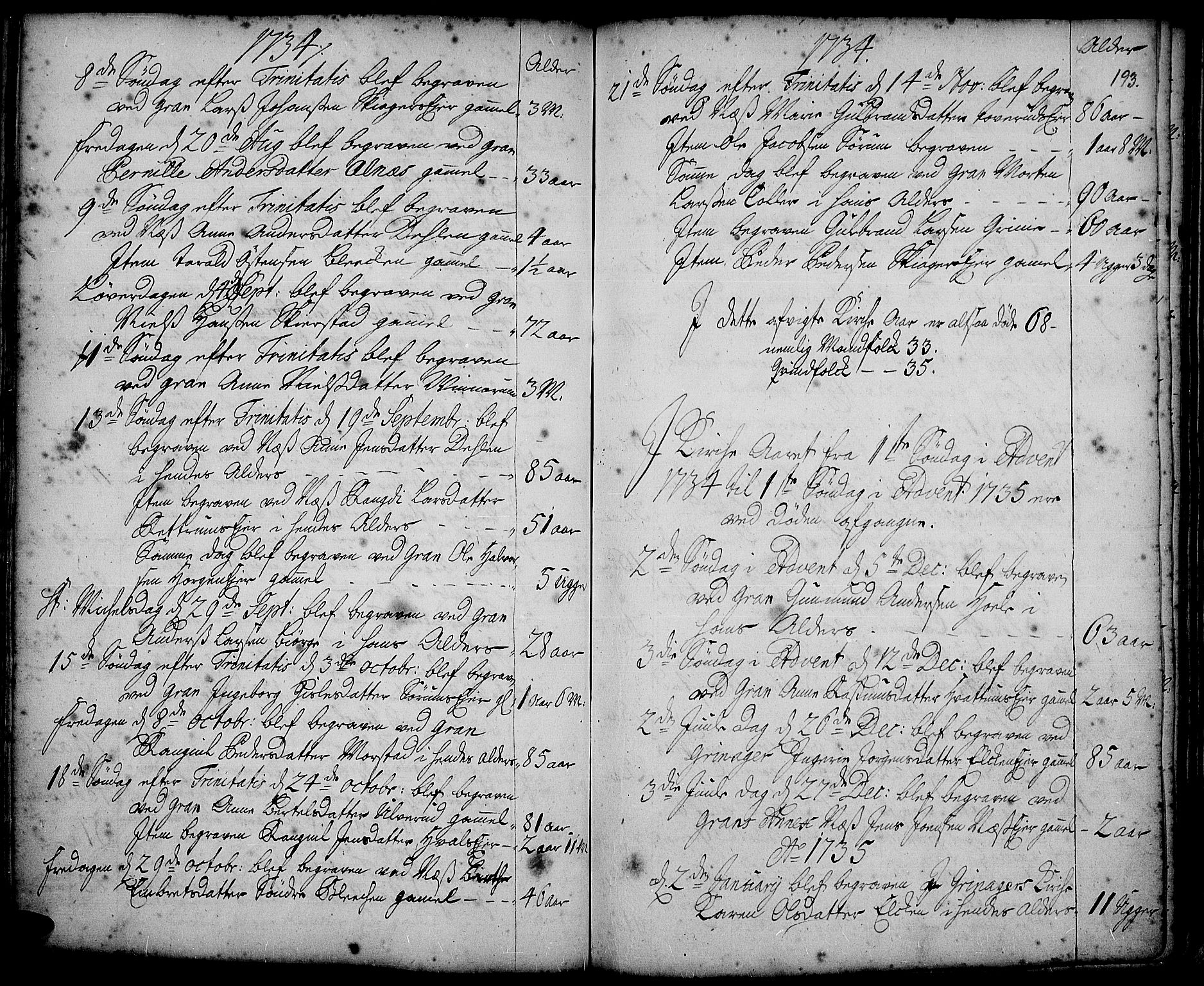 SAH, Gran prestekontor, Ministerialbok nr. 2, 1732-1744, s. 193