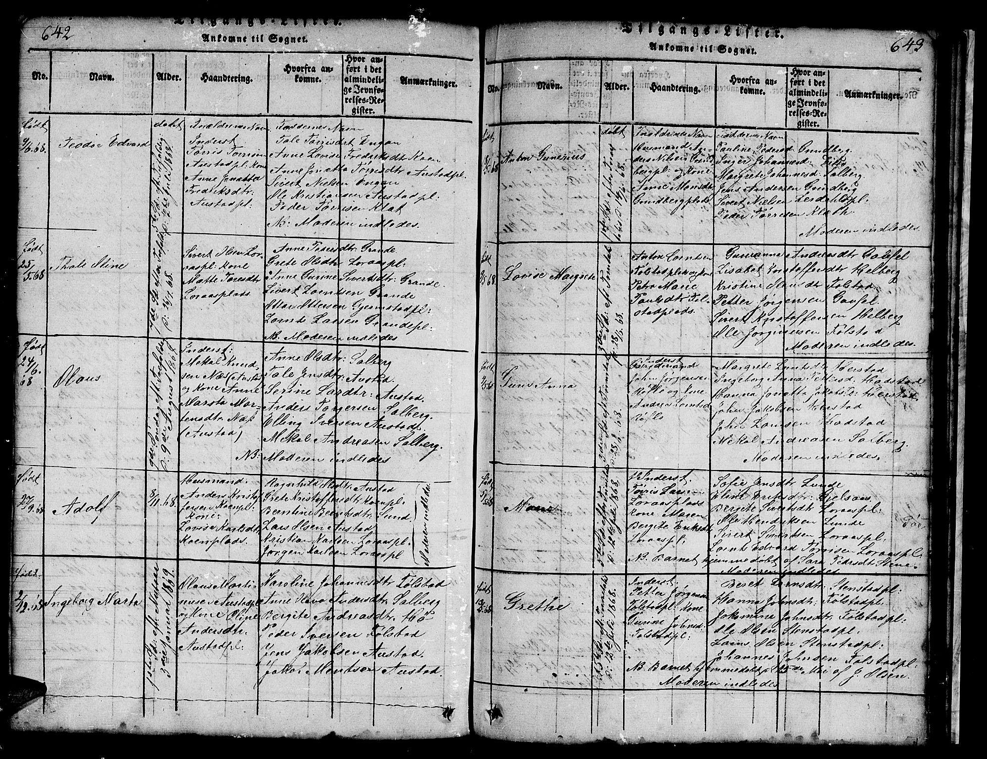 SAT, Ministerialprotokoller, klokkerbøker og fødselsregistre - Nord-Trøndelag, 731/L0310: Klokkerbok nr. 731C01, 1816-1874, s. 642-643