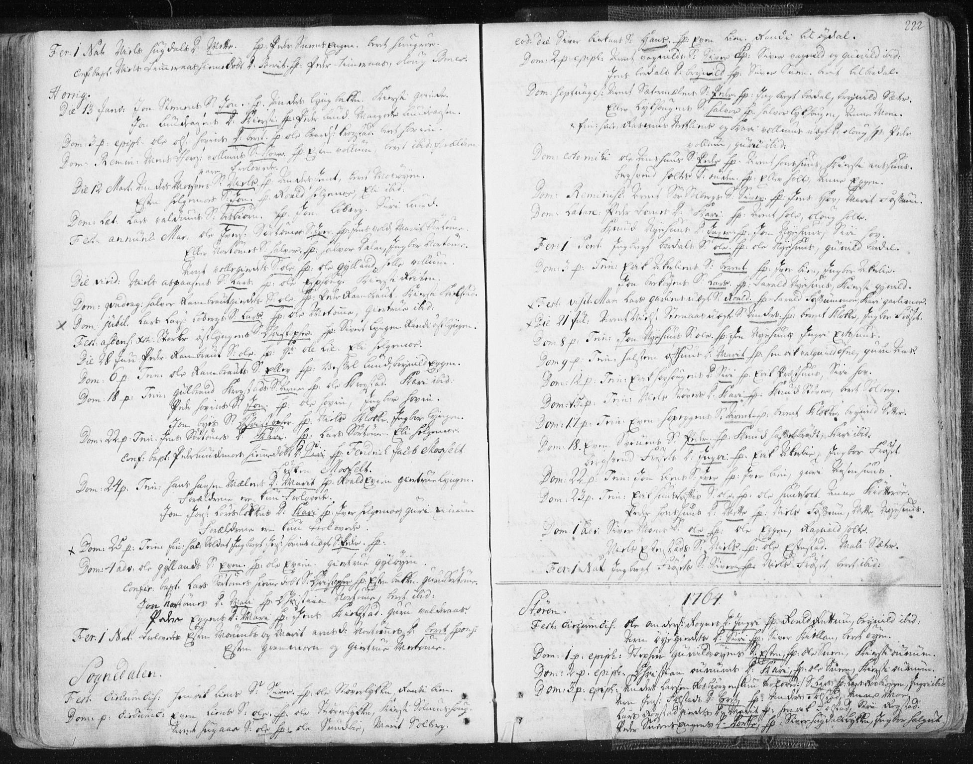 SAT, Ministerialprotokoller, klokkerbøker og fødselsregistre - Sør-Trøndelag, 687/L0991: Ministerialbok nr. 687A02, 1747-1790, s. 222