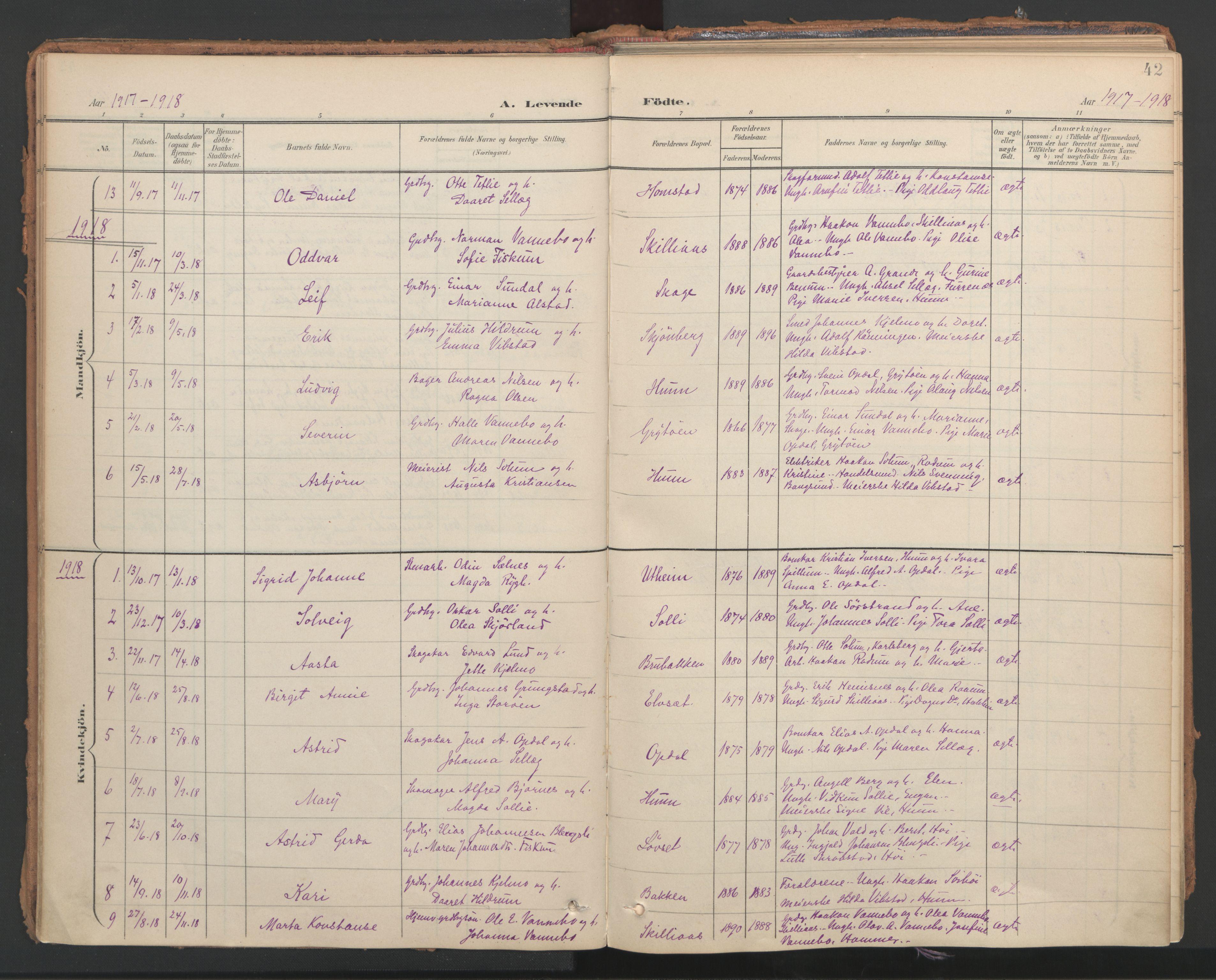 SAT, Ministerialprotokoller, klokkerbøker og fødselsregistre - Nord-Trøndelag, 766/L0564: Ministerialbok nr. 767A02, 1900-1932, s. 42