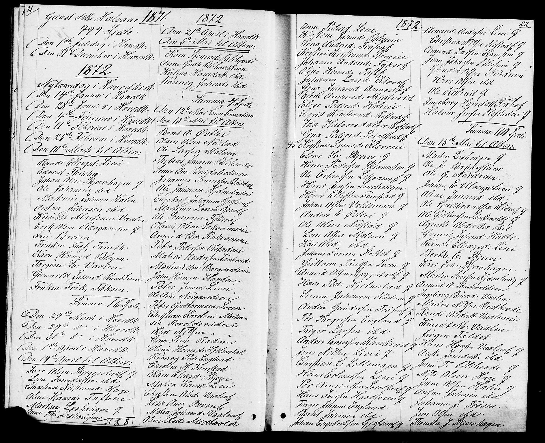 SAH, Østre Gausdal prestekontor, Klokkerbok nr. 1, 1863-1893, s. 21-22