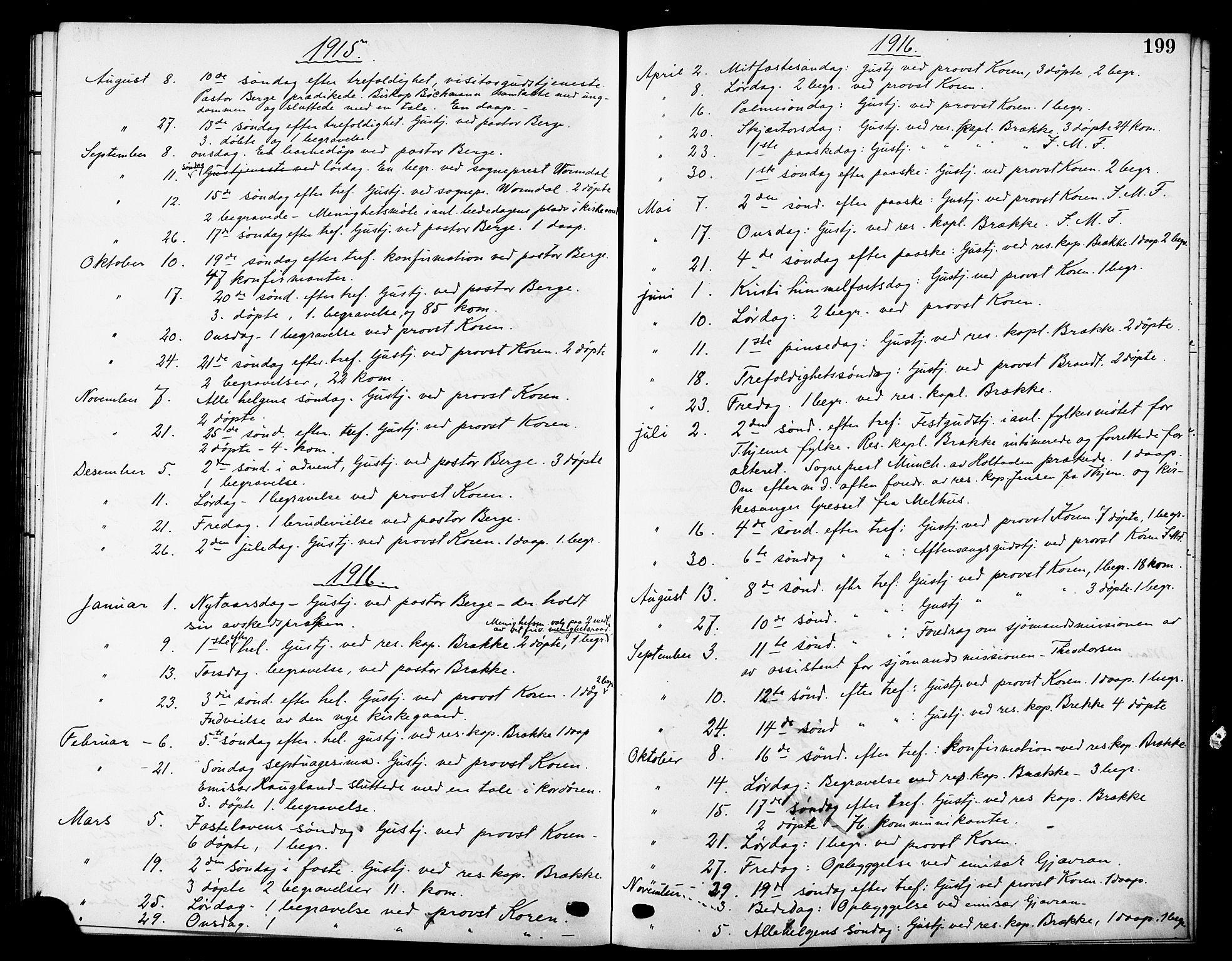 SAT, Ministerialprotokoller, klokkerbøker og fødselsregistre - Sør-Trøndelag, 669/L0831: Klokkerbok nr. 669C01, 1909-1924, s. 199