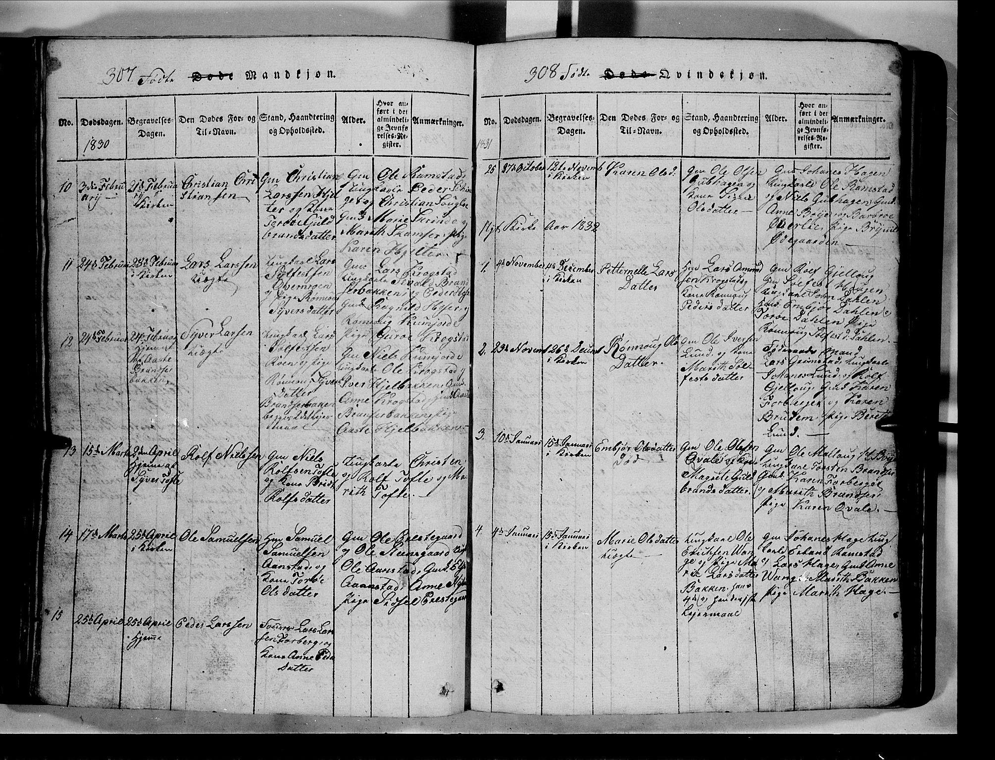 SAH, Lom prestekontor, L/L0003: Klokkerbok nr. 3, 1815-1844, s. 307-308