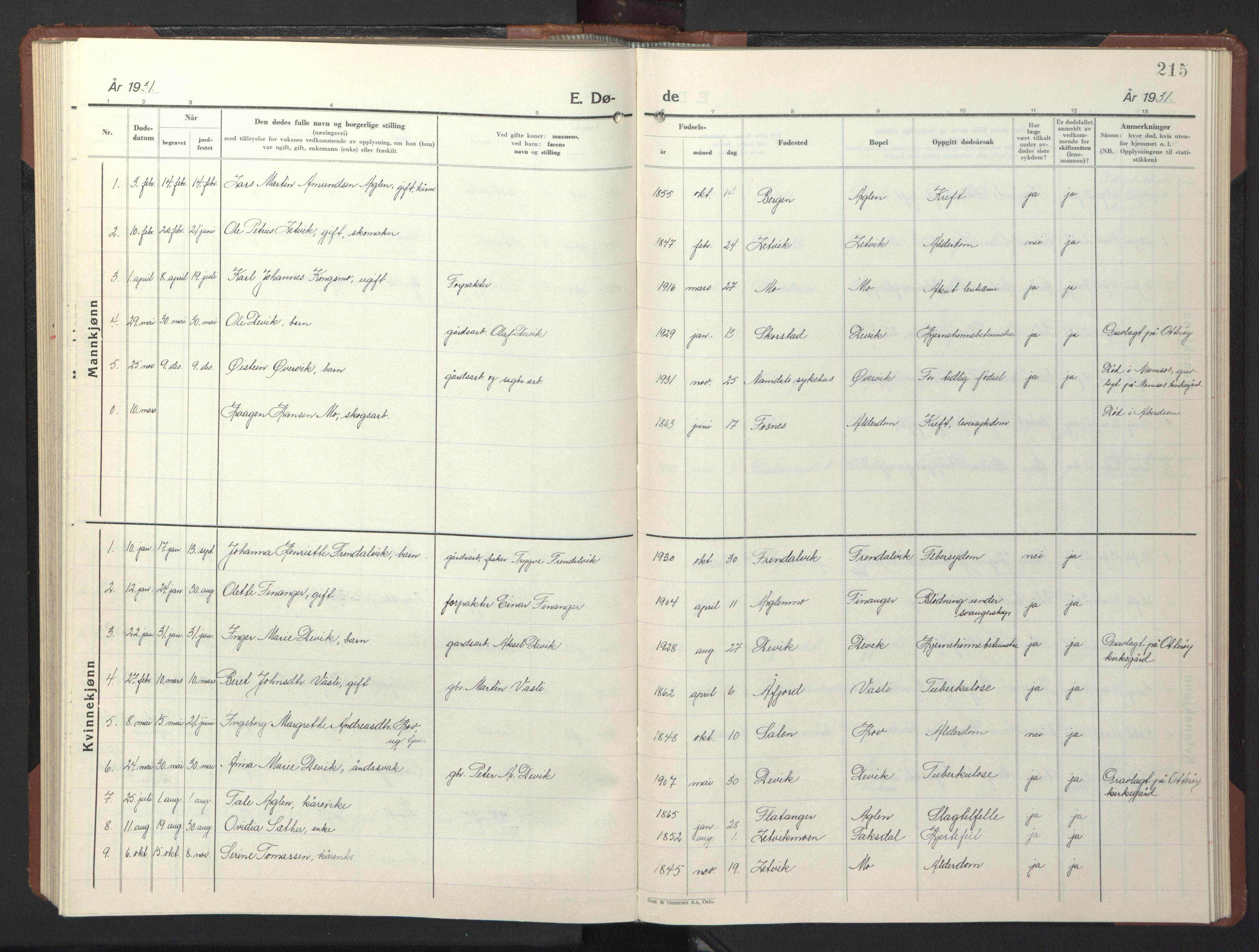 SAT, Ministerialprotokoller, klokkerbøker og fødselsregistre - Nord-Trøndelag, 773/L0625: Klokkerbok nr. 773C01, 1910-1952, s. 215
