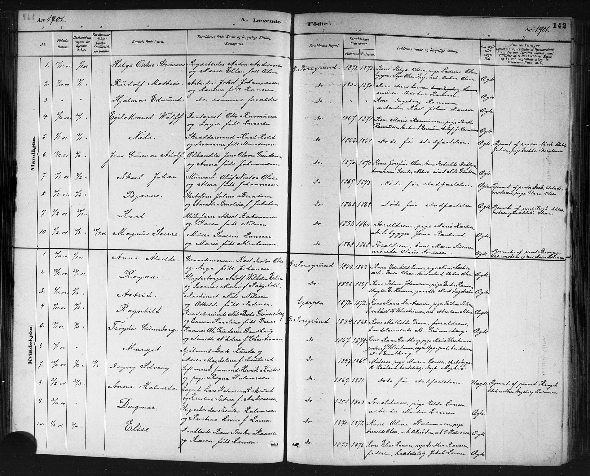 SAKO, Porsgrunn kirkebøker , G/Gb/L0005: Klokkerbok nr. II 5, 1883-1915, s. 142