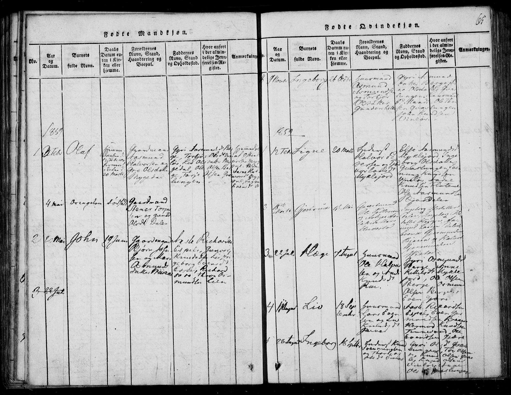 SAKO, Lårdal kirkebøker, F/Fb/L0001: Ministerialbok nr. II 1, 1815-1860, s. 65