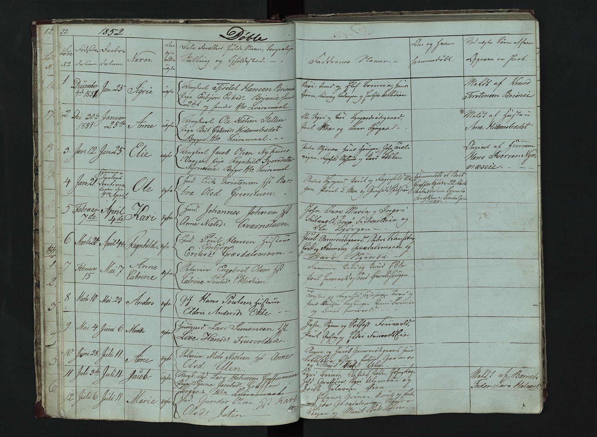 SAH, Lom prestekontor, L/L0014: Klokkerbok nr. 14, 1845-1876, s. 22-23