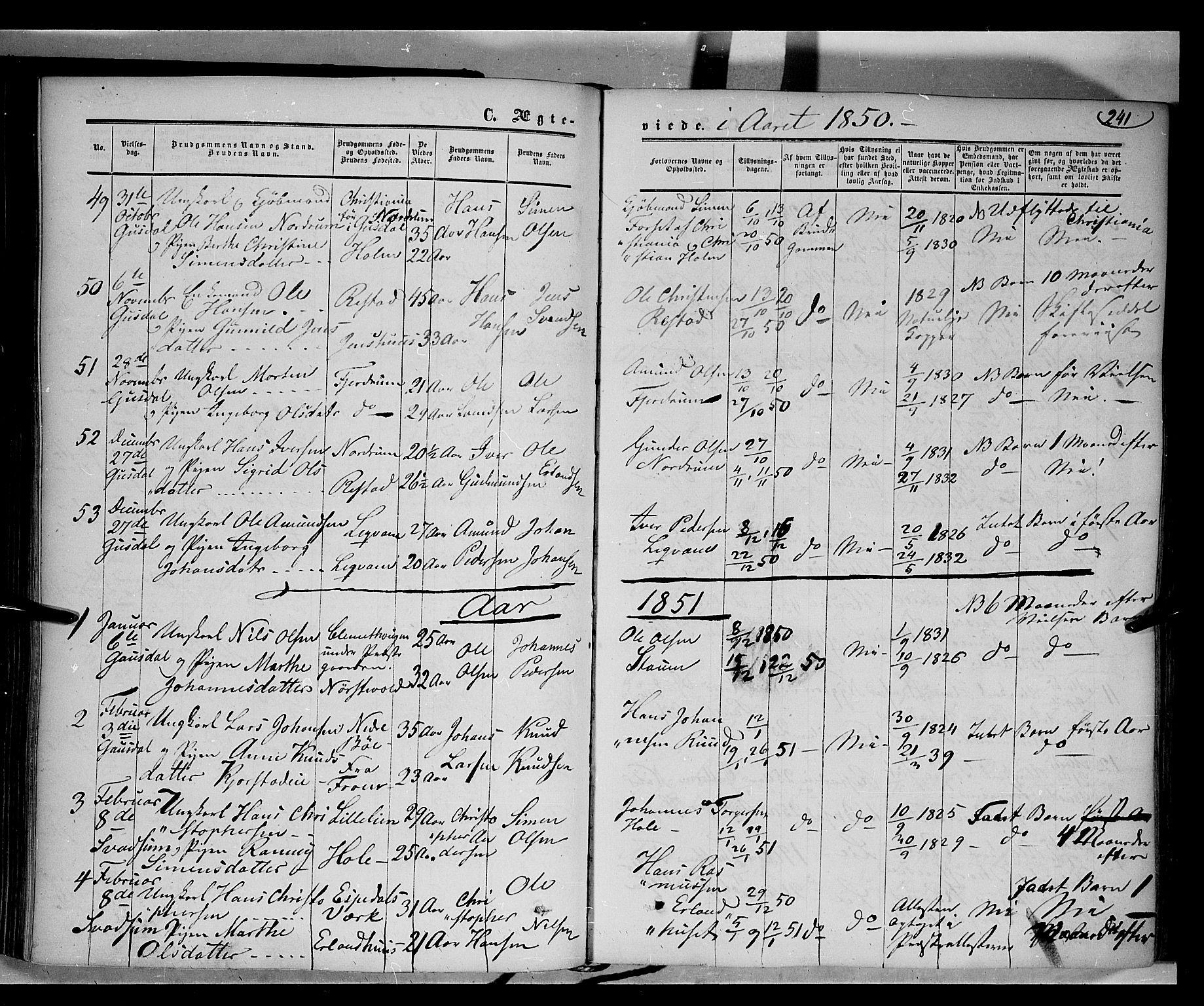 SAH, Gausdal prestekontor, Ministerialbok nr. 8, 1850-1861, s. 241