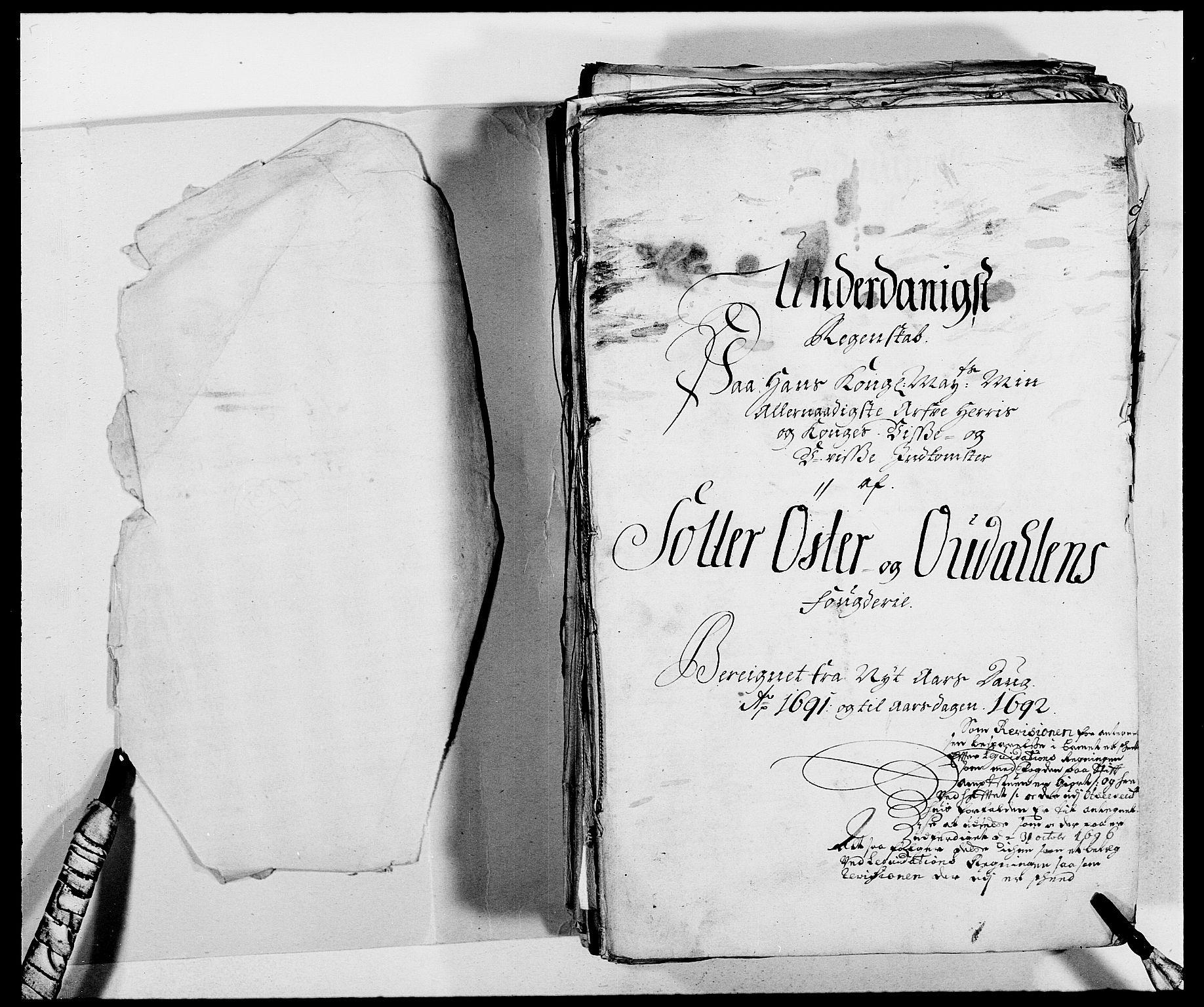 RA, Rentekammeret inntil 1814, Reviderte regnskaper, Fogderegnskap, R13/L0829: Fogderegnskap Solør, Odal og Østerdal, 1691, s. 3