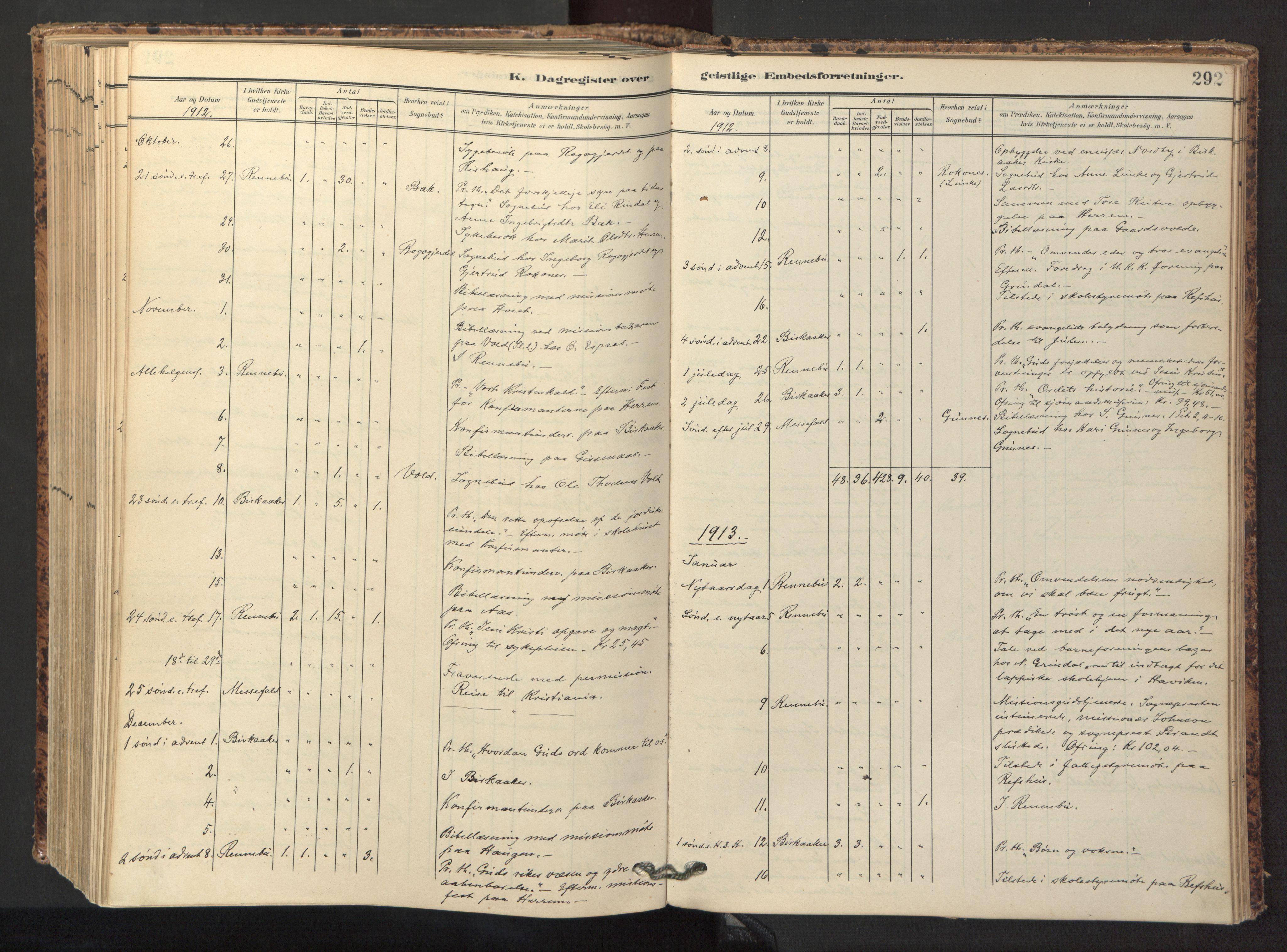 SAT, Ministerialprotokoller, klokkerbøker og fødselsregistre - Sør-Trøndelag, 674/L0873: Ministerialbok nr. 674A05, 1908-1923, s. 292