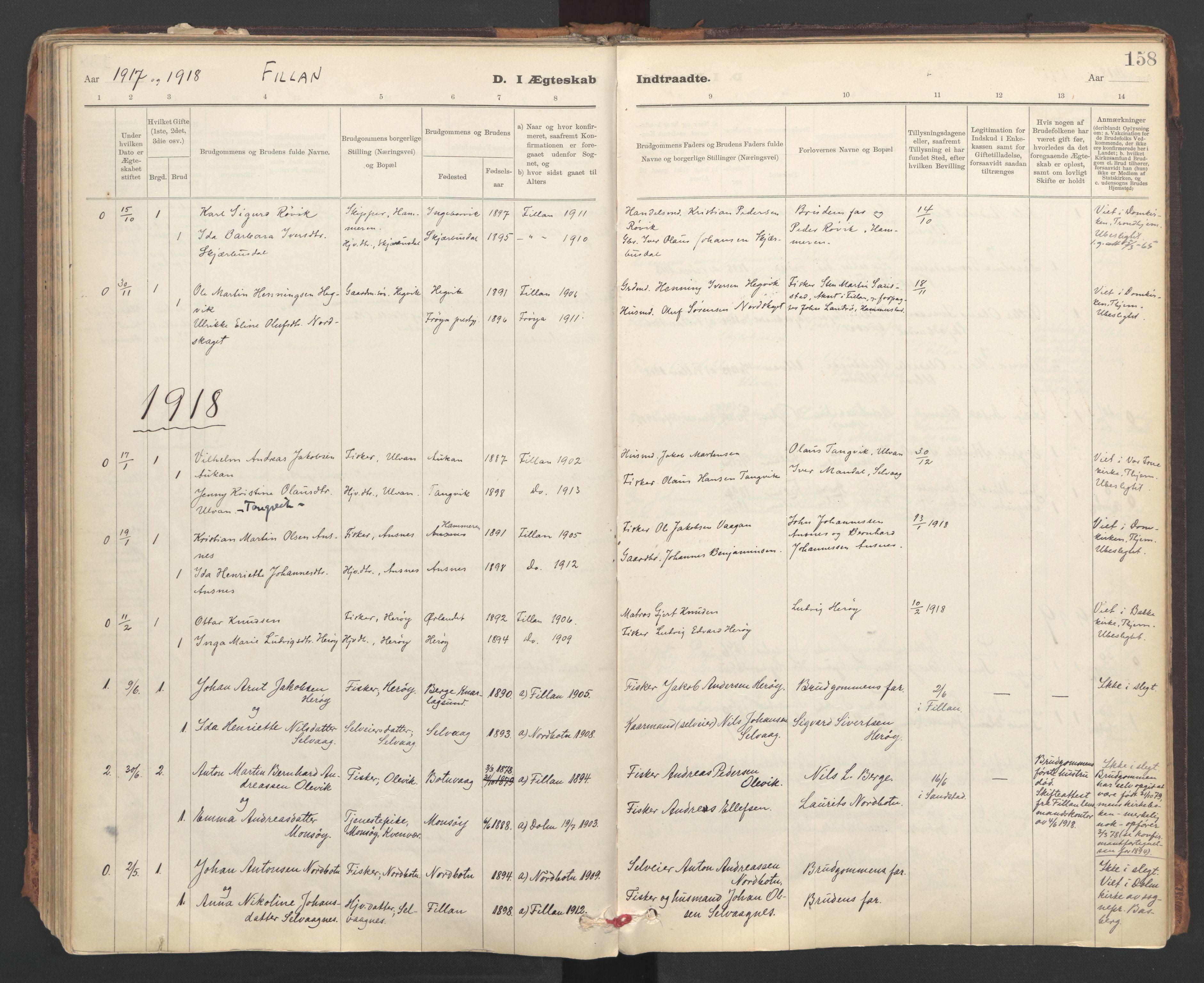 SAT, Ministerialprotokoller, klokkerbøker og fødselsregistre - Sør-Trøndelag, 637/L0559: Ministerialbok nr. 637A02, 1899-1923, s. 158