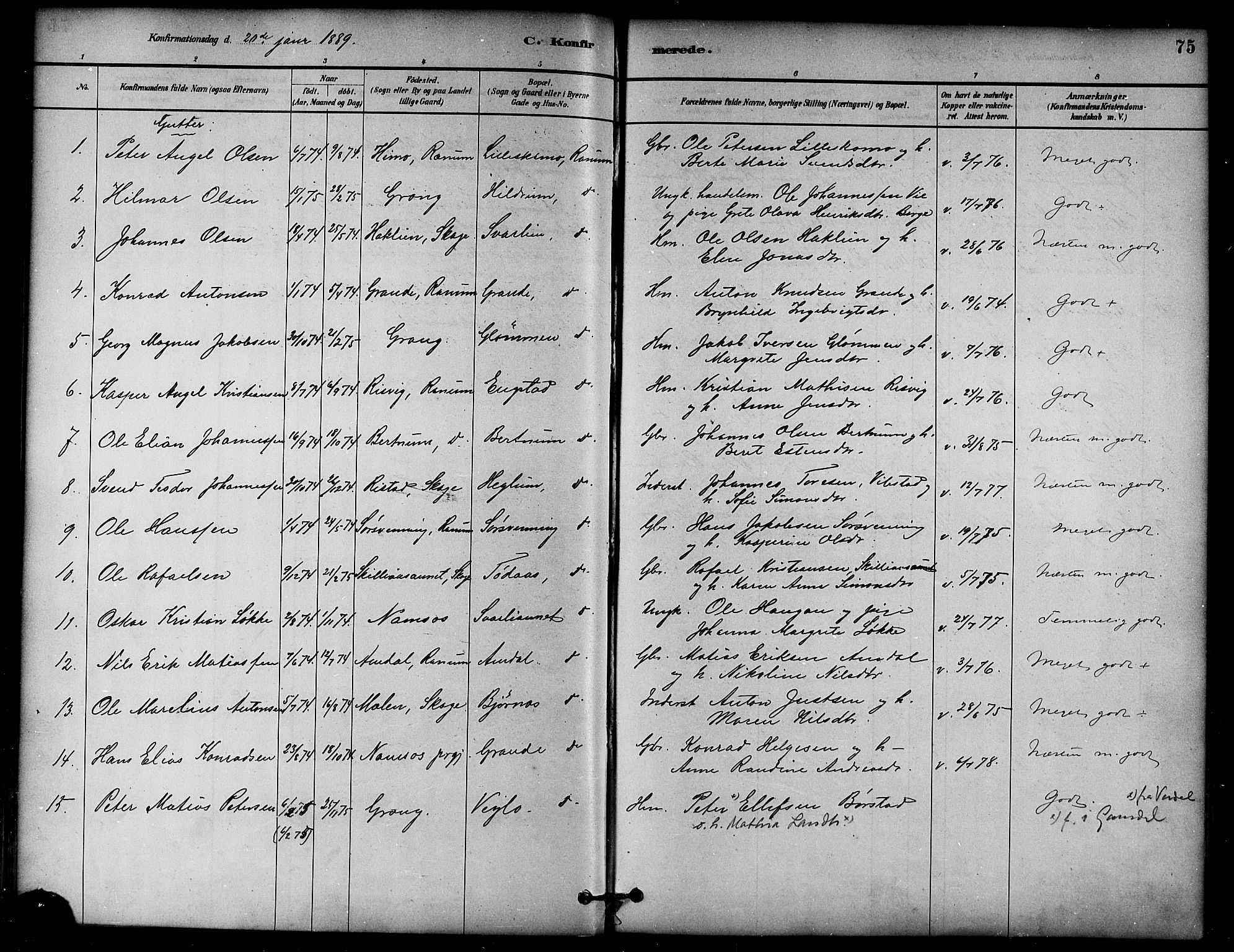 SAT, Ministerialprotokoller, klokkerbøker og fødselsregistre - Nord-Trøndelag, 764/L0555: Ministerialbok nr. 764A10, 1881-1896, s. 75