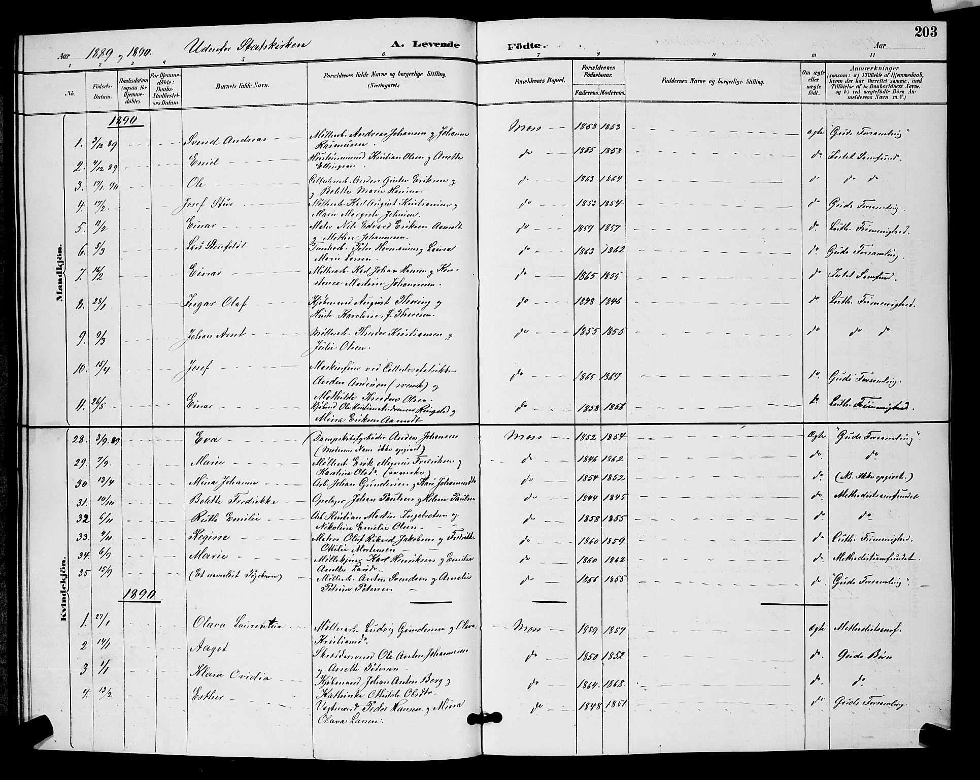 SAO, Moss prestekontor Kirkebøker, G/Ga/L0006: Klokkerbok nr. I 6, 1889-1900, s. 203