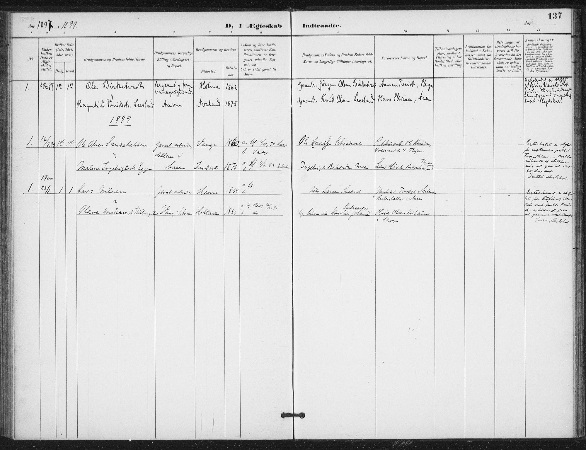 SAT, Ministerialprotokoller, klokkerbøker og fødselsregistre - Nord-Trøndelag, 714/L0131: Ministerialbok nr. 714A02, 1896-1918, s. 137