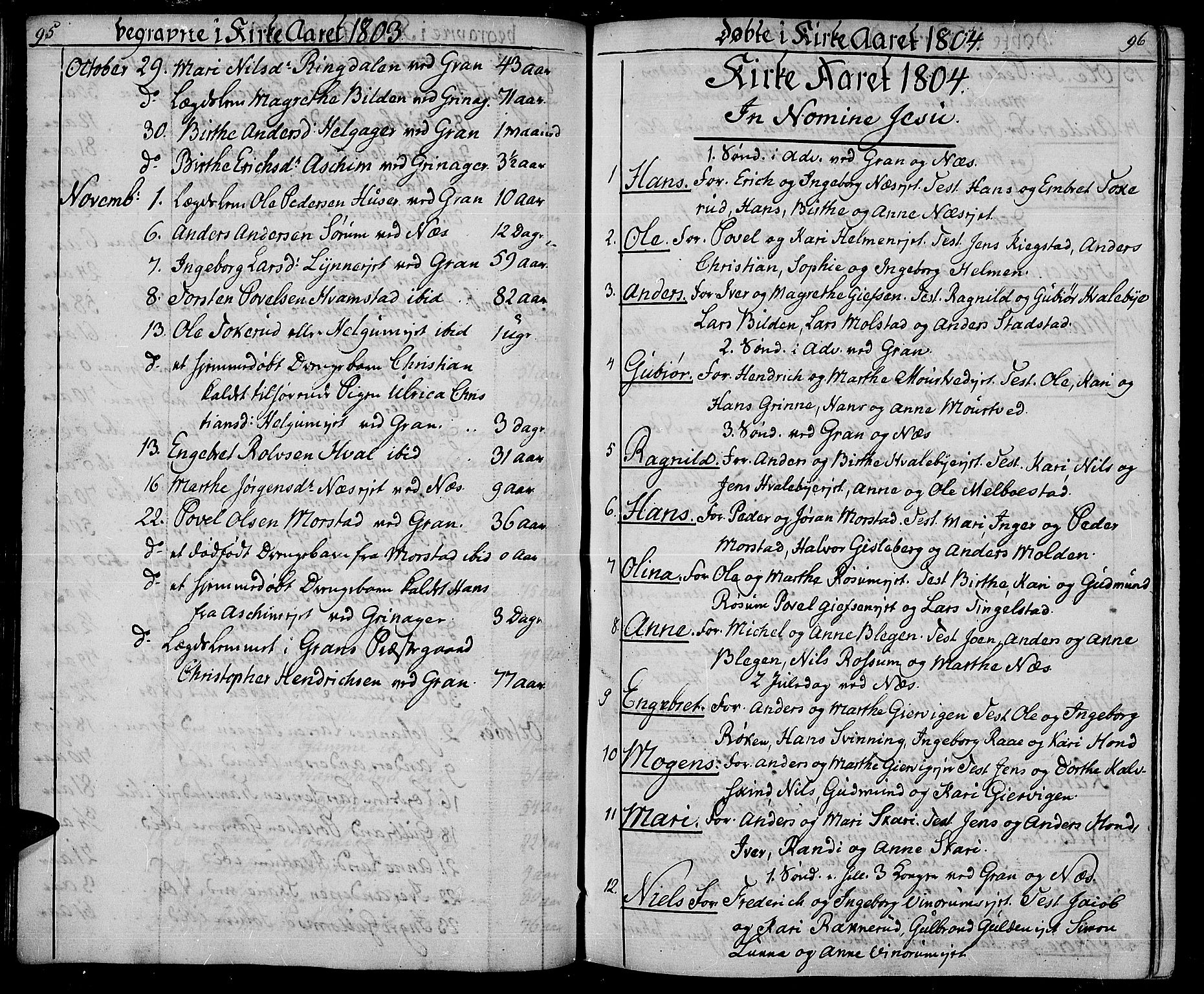 SAH, Gran prestekontor, Ministerialbok nr. 8, 1798-1811, s. 95-96
