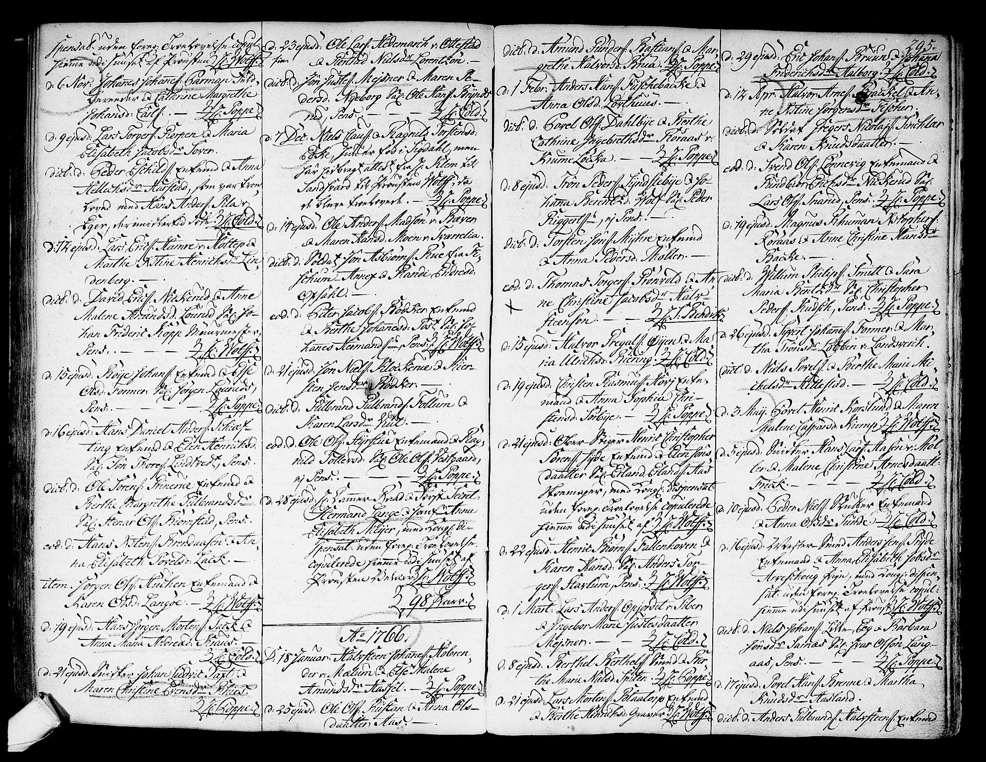 SAKO, Kongsberg kirkebøker, F/Fa/L0004: Ministerialbok nr. I 4, 1756-1768, s. 295