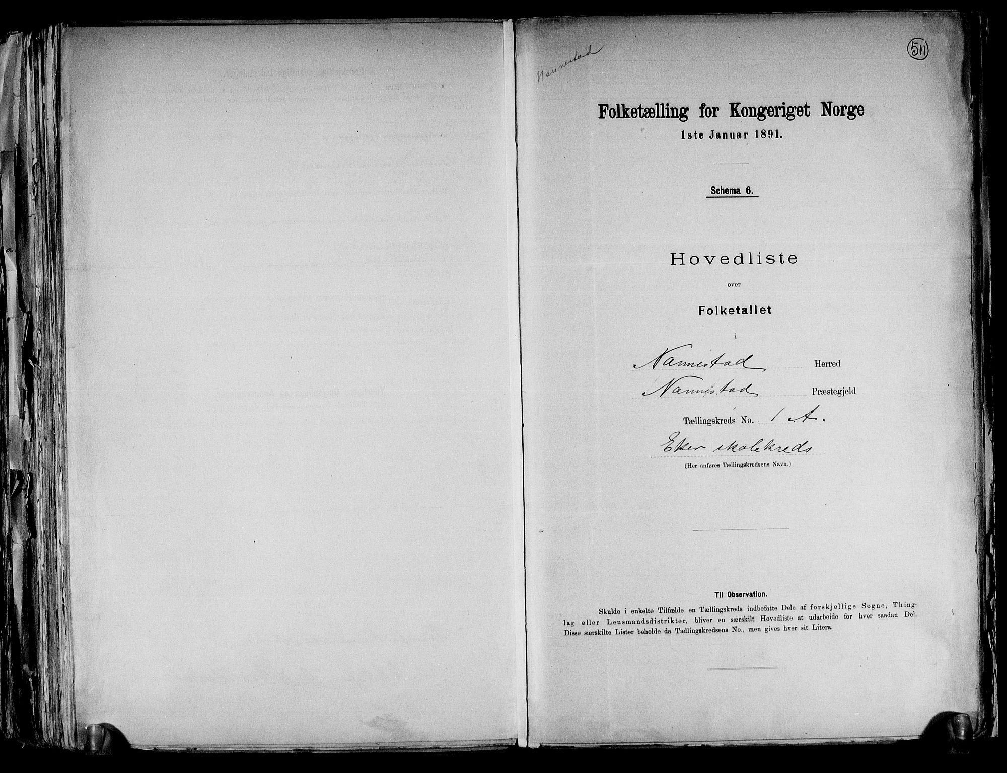 RA, Folketelling 1891 for 0238 Nannestad herred, 1891, s. 4