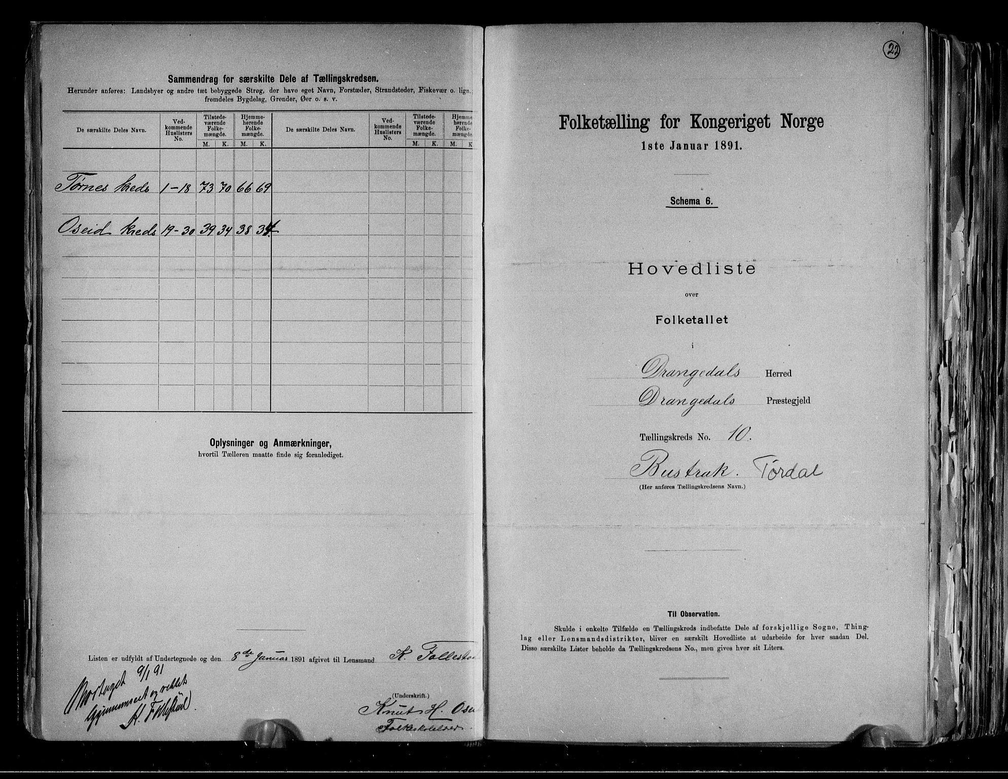 RA, Folketelling 1891 for 0817 Drangedal herred, 1891, s. 22