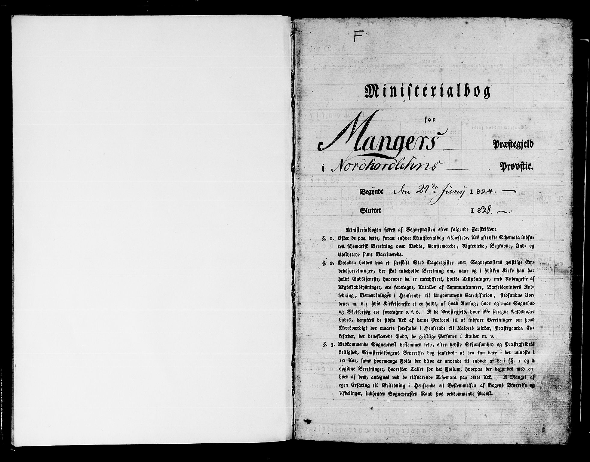 SAB, Manger sokneprestembete, H/Haa: Ministerialbok nr. A 4, 1824-1838