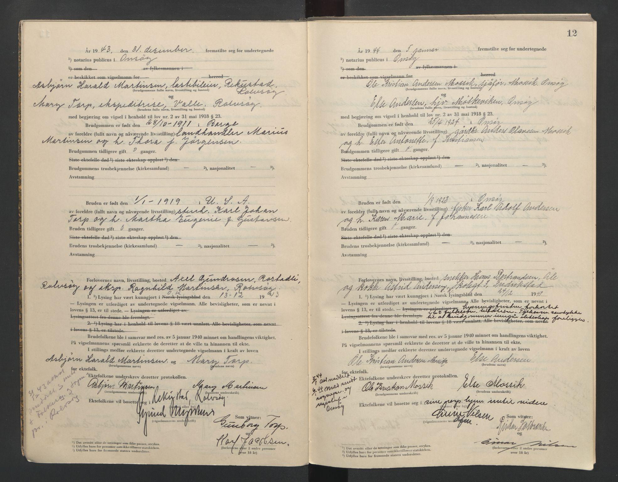 SAO, Onsøy sorenskriveri, L/La/L0004: Vigselsbok, 1943-1944, s. 12