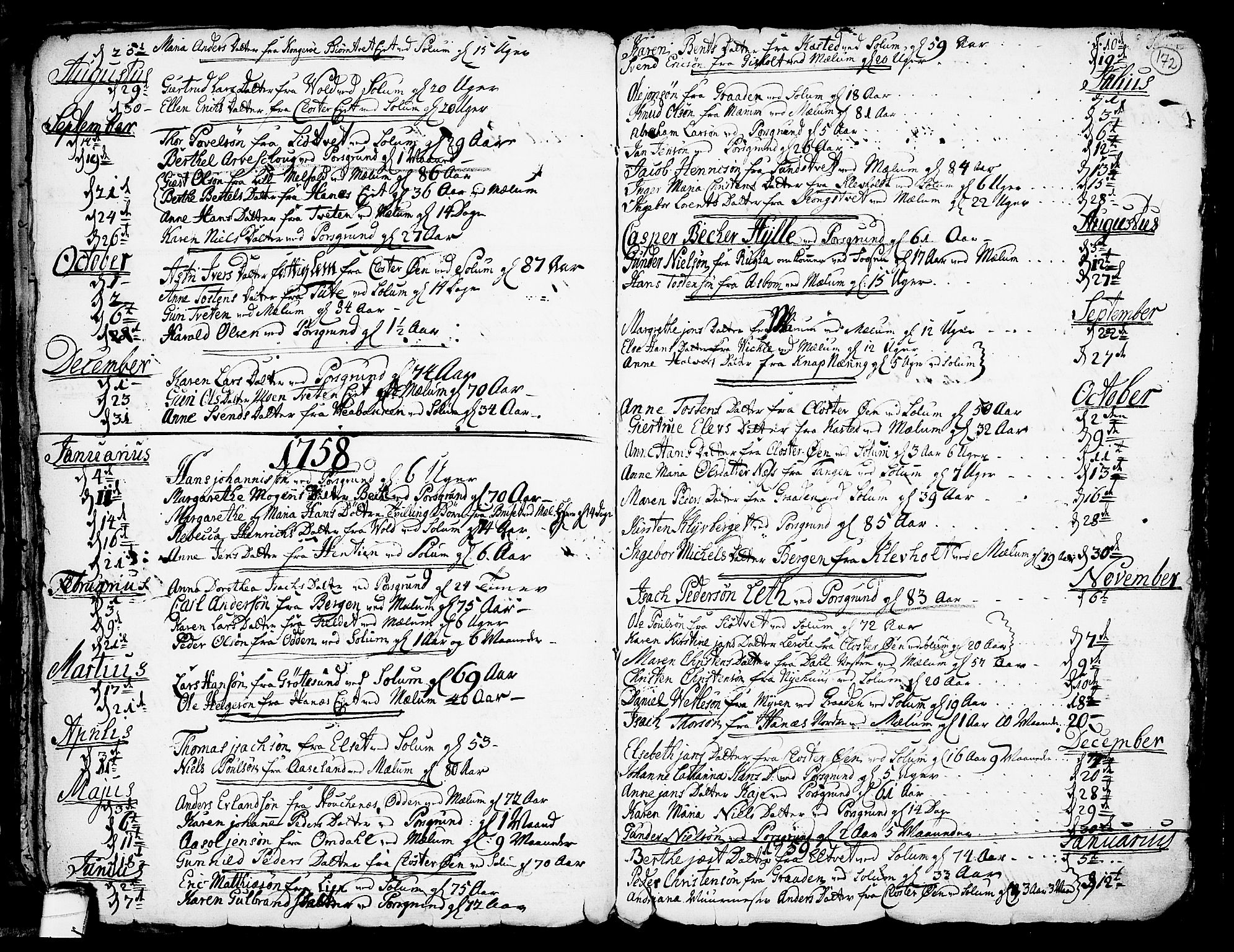 SAKO, Solum kirkebøker, F/Fa/L0002: Ministerialbok nr. I 2, 1713-1761, s. 172