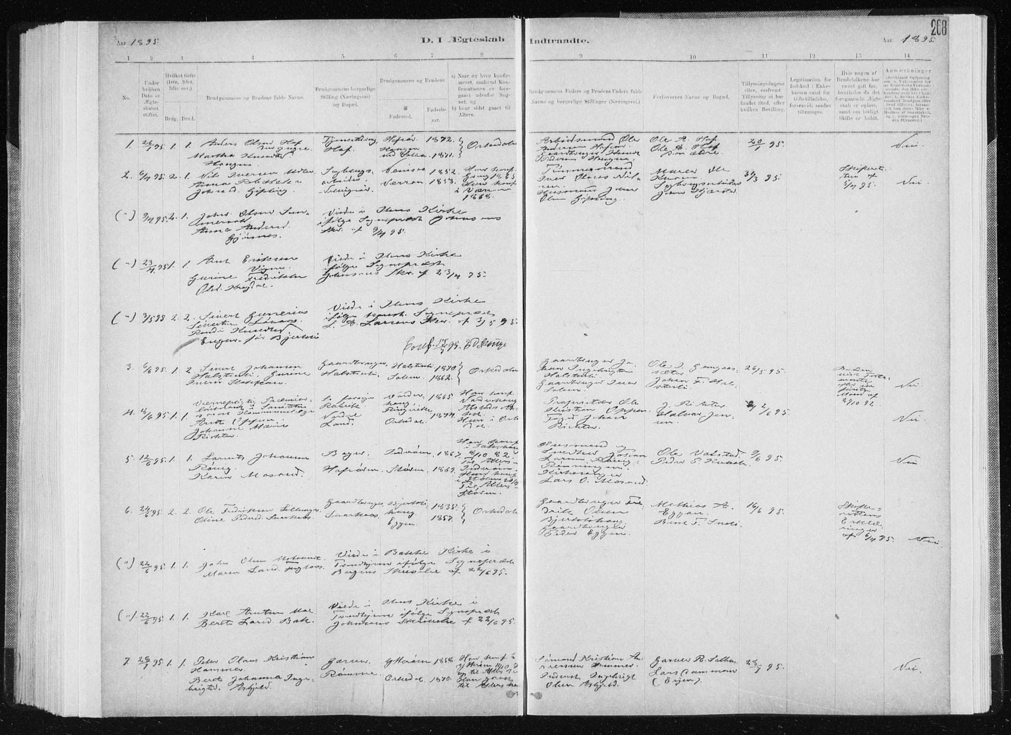SAT, Ministerialprotokoller, klokkerbøker og fødselsregistre - Sør-Trøndelag, 668/L0818: Klokkerbok nr. 668C07, 1885-1898, s. 268