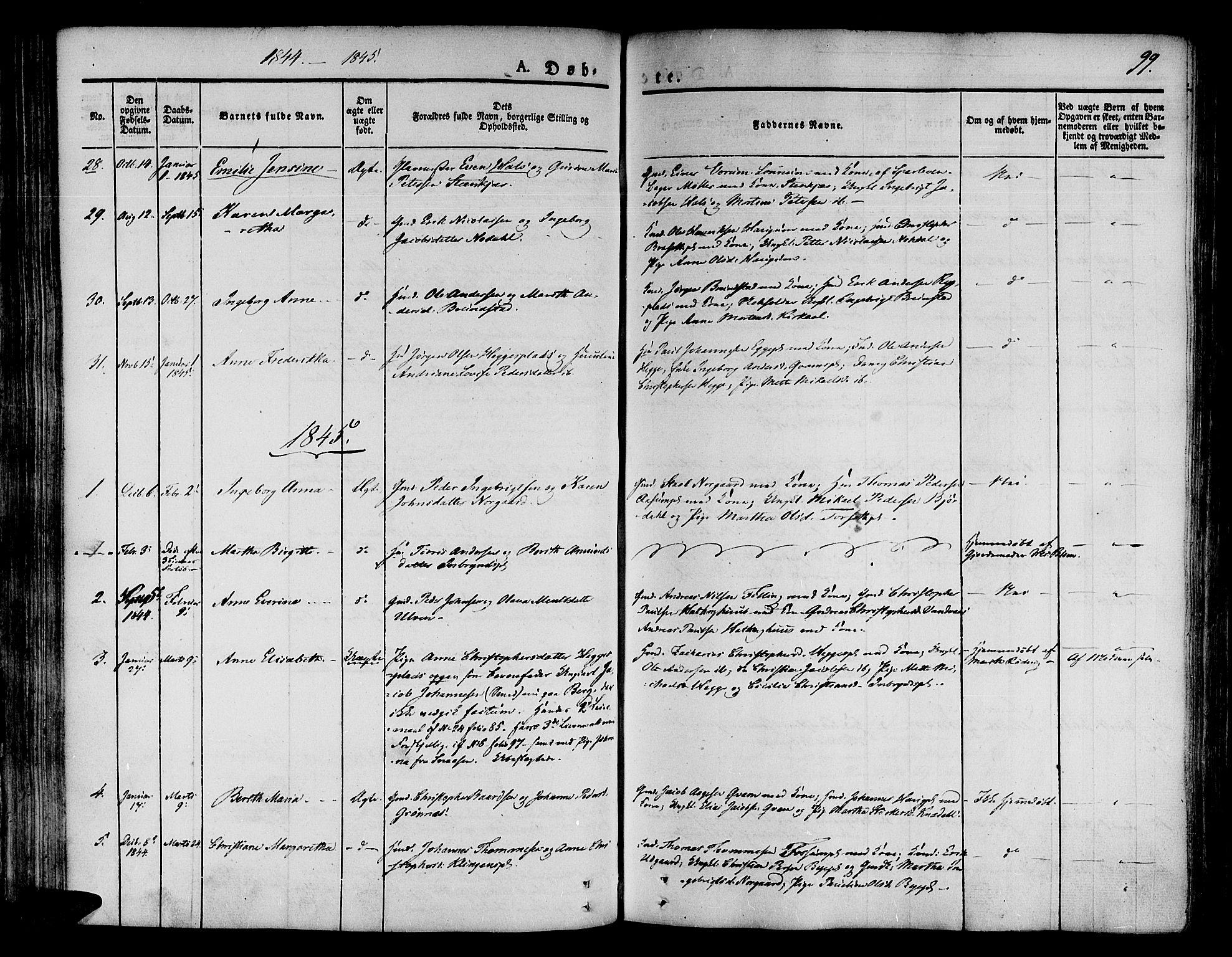 SAT, Ministerialprotokoller, klokkerbøker og fødselsregistre - Nord-Trøndelag, 746/L0445: Ministerialbok nr. 746A04, 1826-1846, s. 99