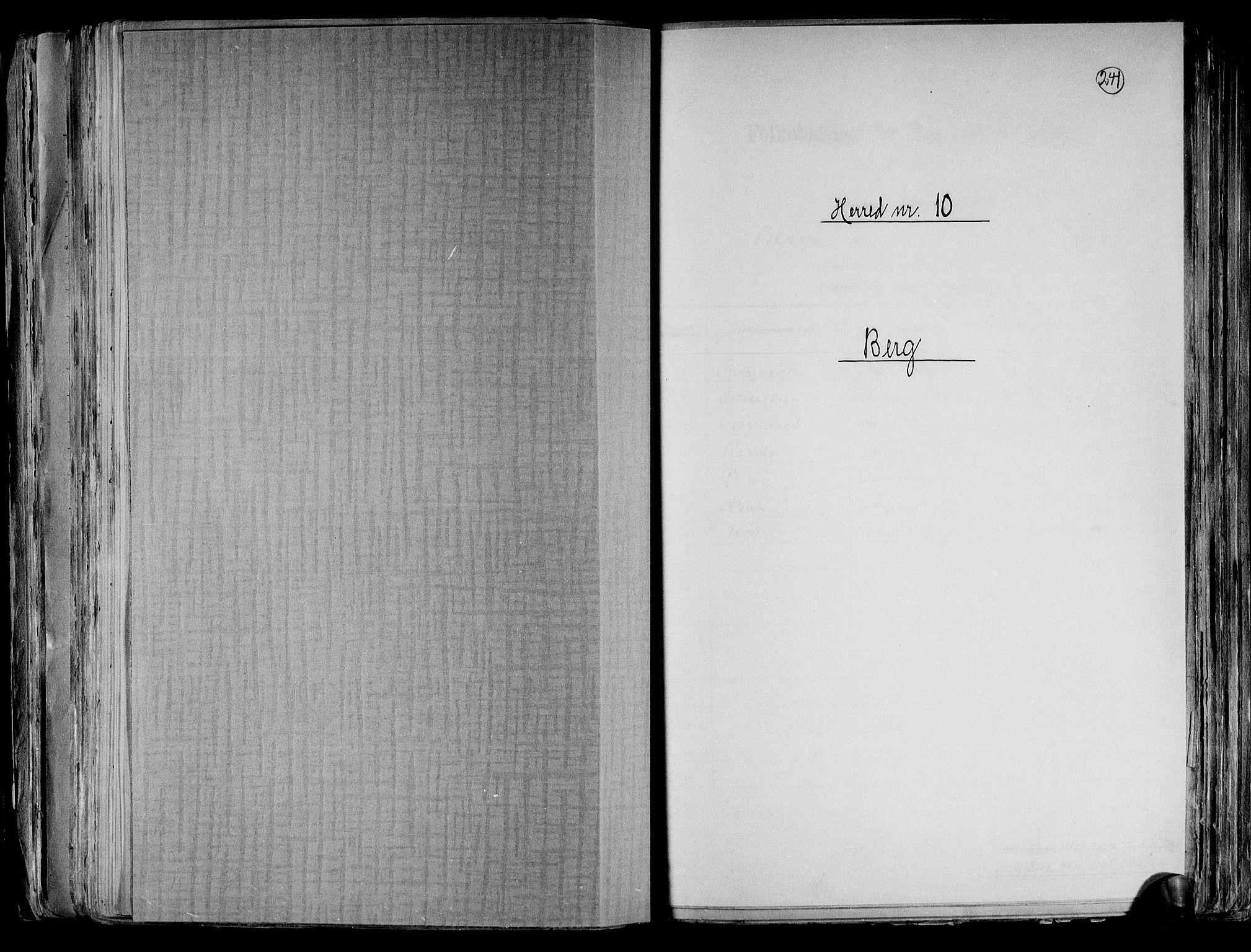 RA, Folketelling 1891 for 0116 Berg herred, 1891, s. 1