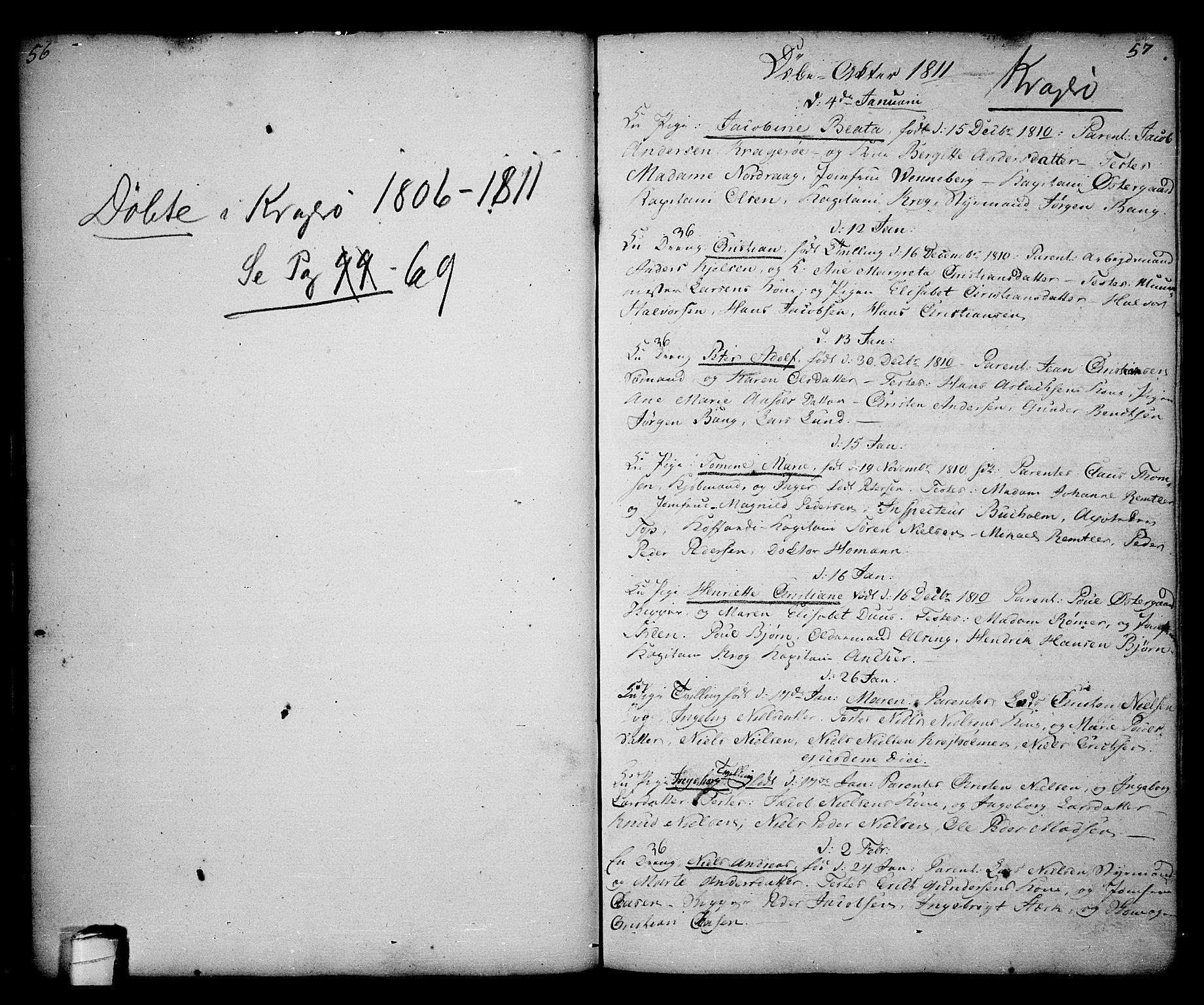 SAKO, Kragerø kirkebøker, G/Ga/L0001: Klokkerbok nr. 1 /1, 1806-1811, s. 56-57