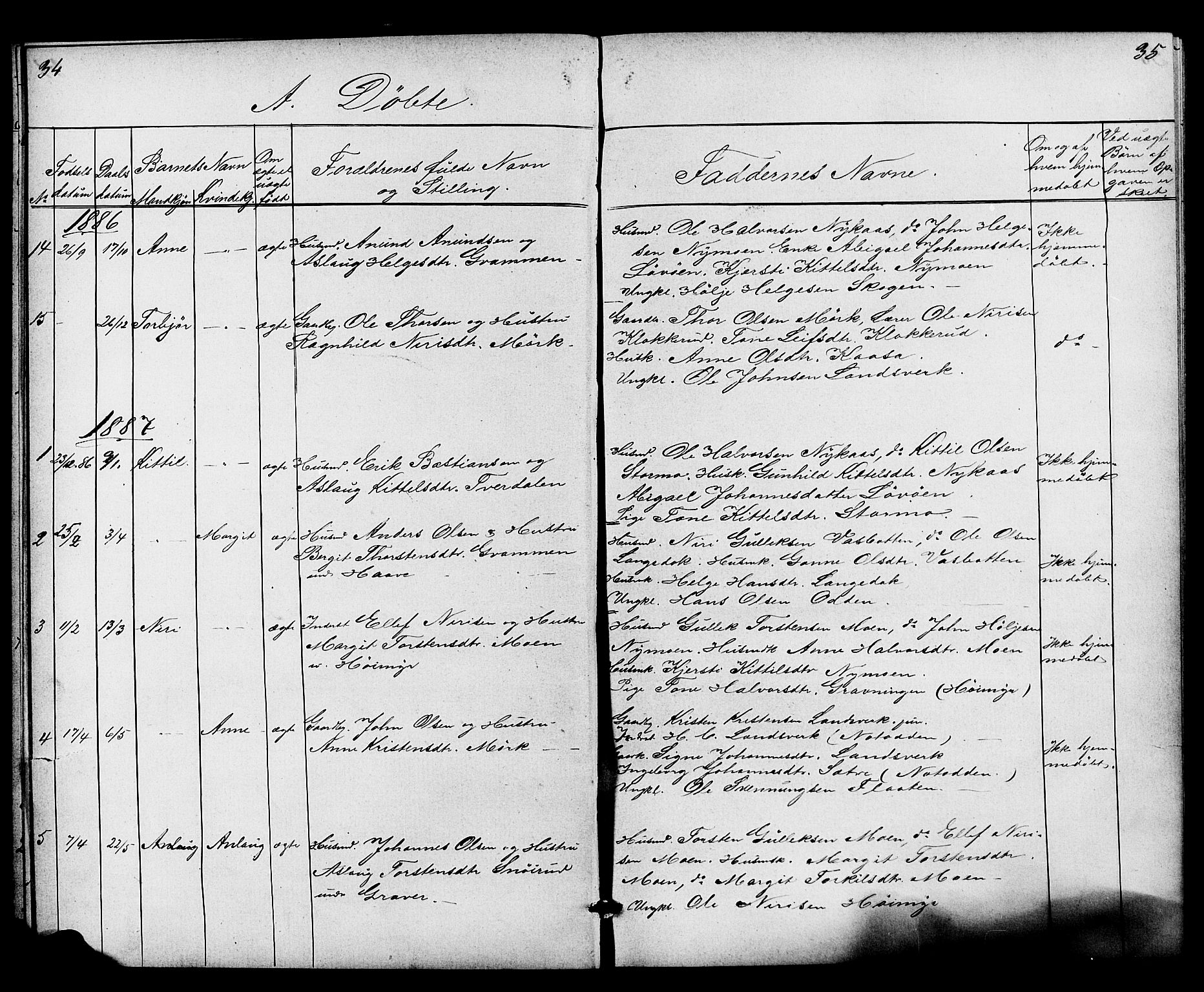 SAKO, Heddal kirkebøker, G/Gb/L0001: Klokkerbok nr. II 1, 1866-1887, s. 34-35
