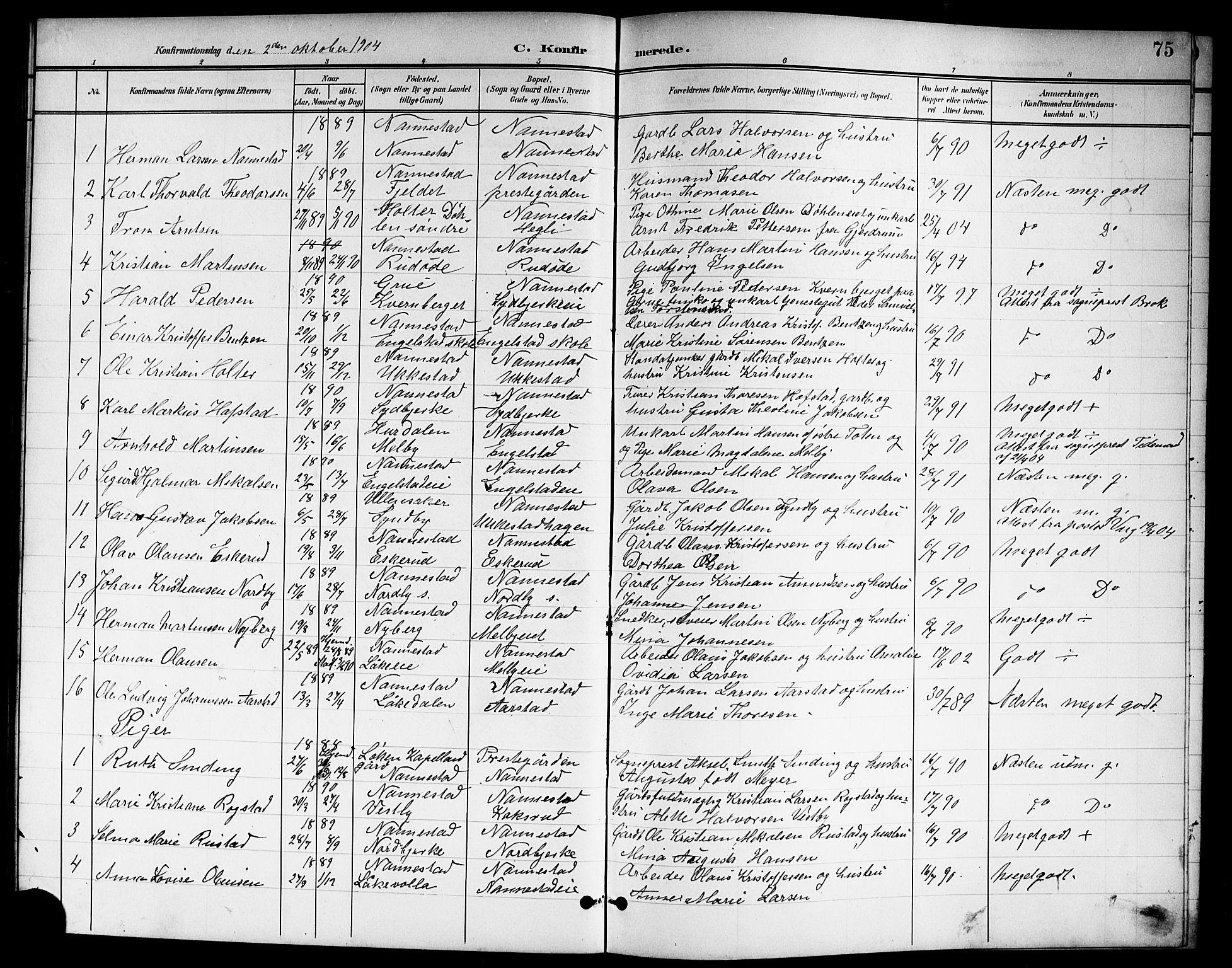 SAO, Nannestad prestekontor Kirkebøker, G/Ga/L0002: Klokkerbok nr. I 2, 1901-1913, s. 75