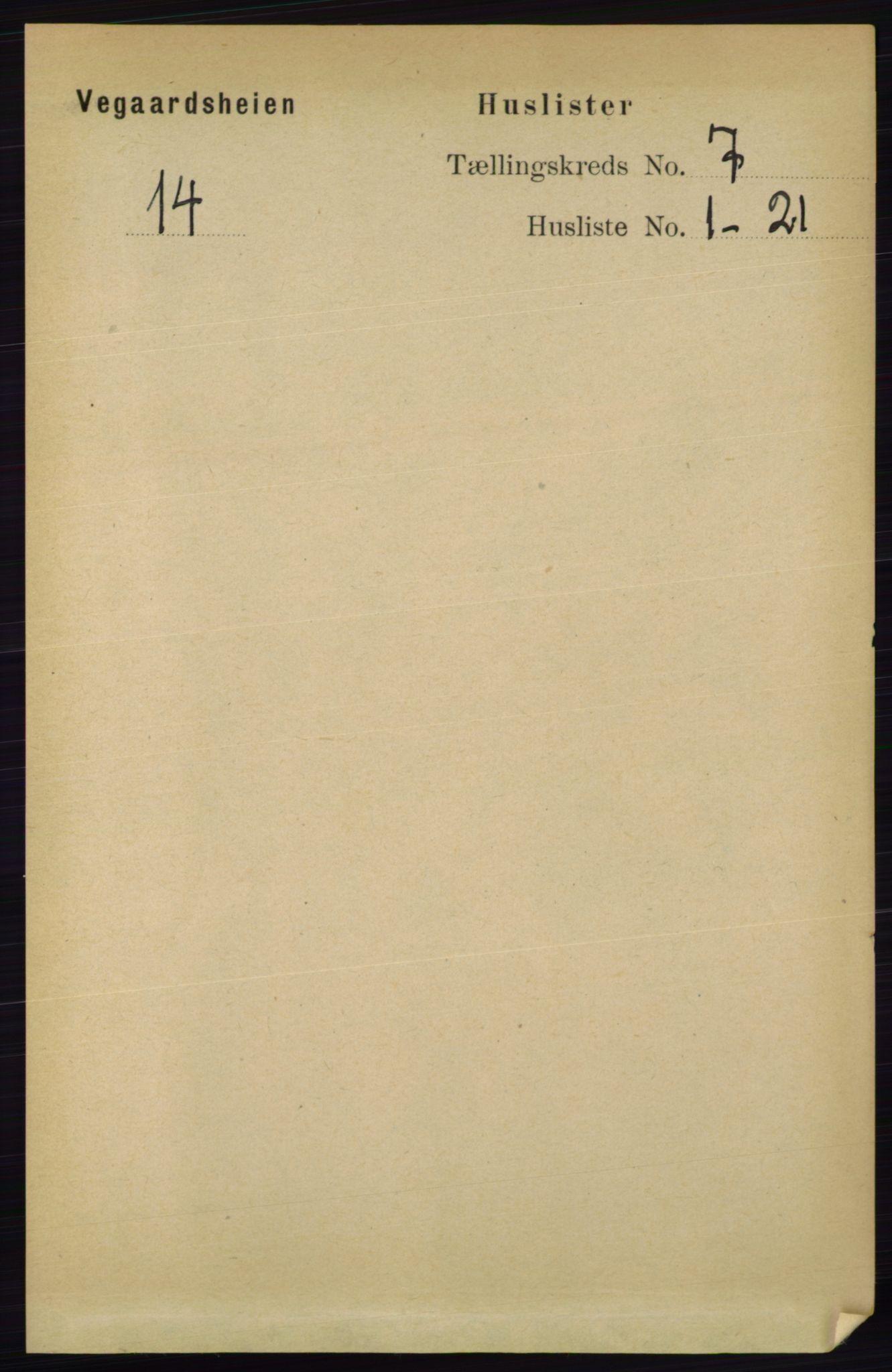 RA, Folketelling 1891 for 0912 Vegårshei herred, 1891, s. 1310