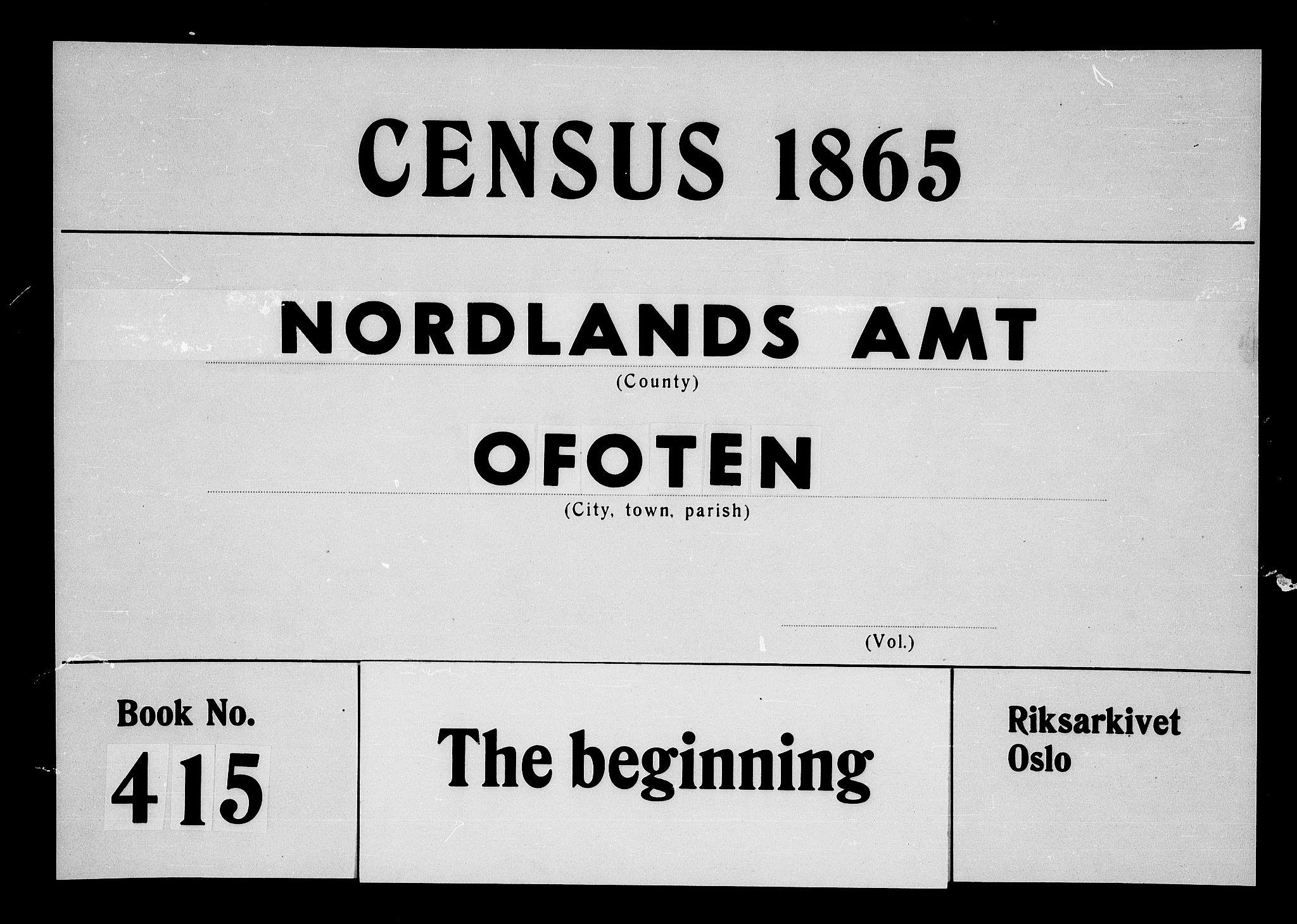 RA, Folketelling 1865 for 1853P Ofoten prestegjeld, 1865, s. 1