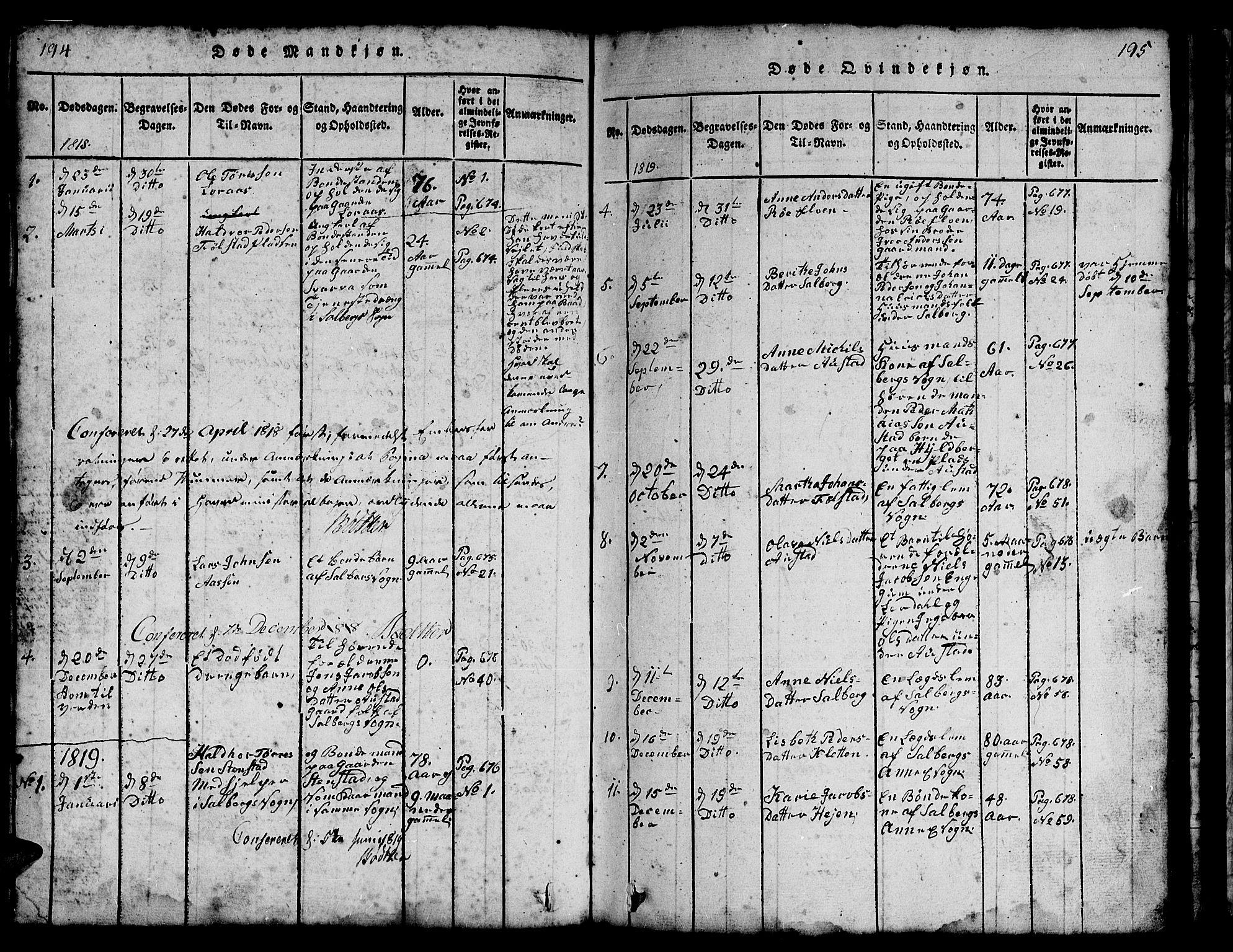 SAT, Ministerialprotokoller, klokkerbøker og fødselsregistre - Nord-Trøndelag, 731/L0310: Klokkerbok nr. 731C01, 1816-1874, s. 194-195