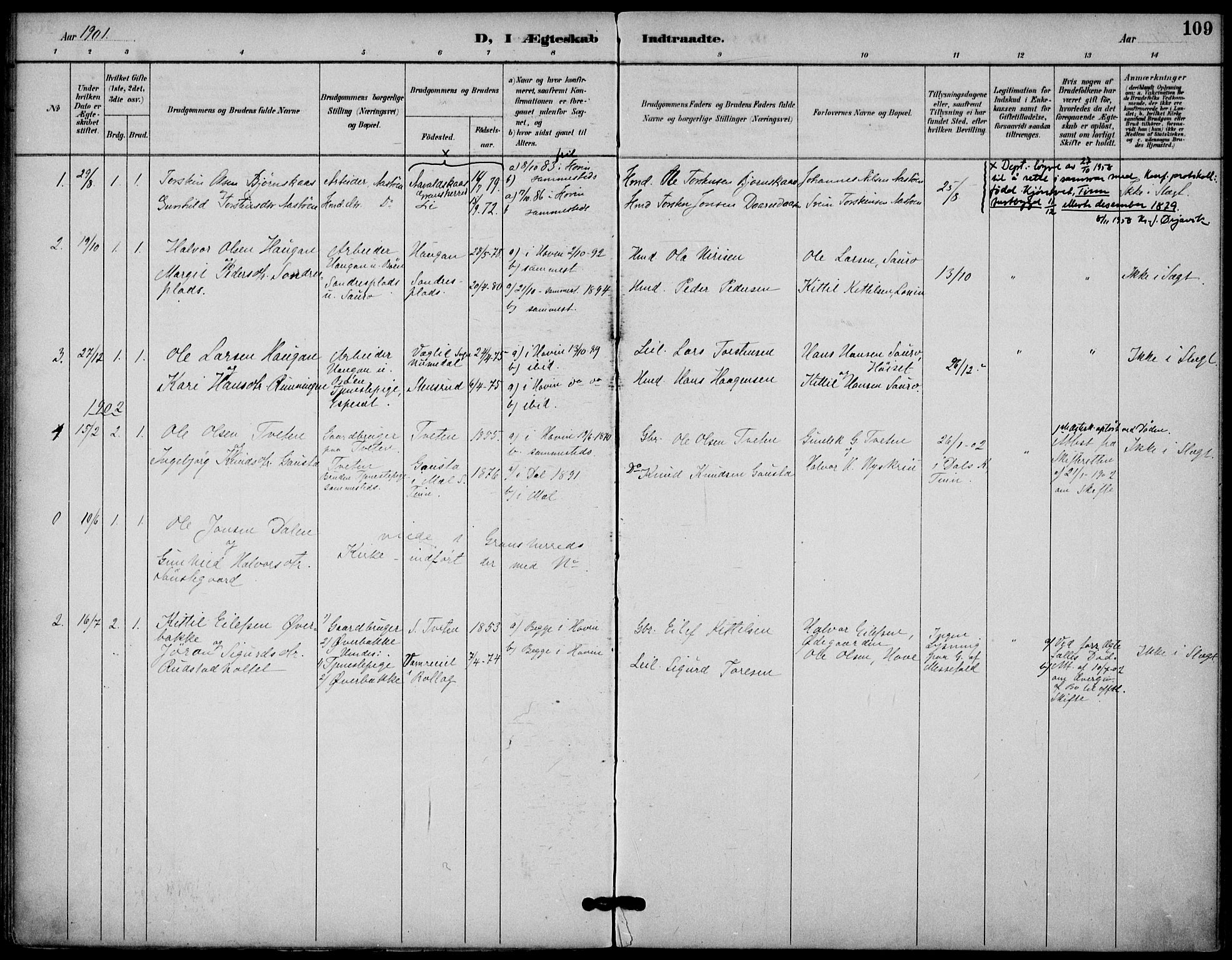 SAKO, Gransherad kirkebøker, F/Fb/L0005: Ministerialbok nr. II 5, 1887-1916, s. 109